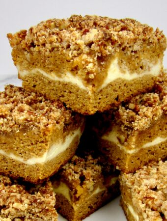 pumpkin coffee cake slices stacked closeup
