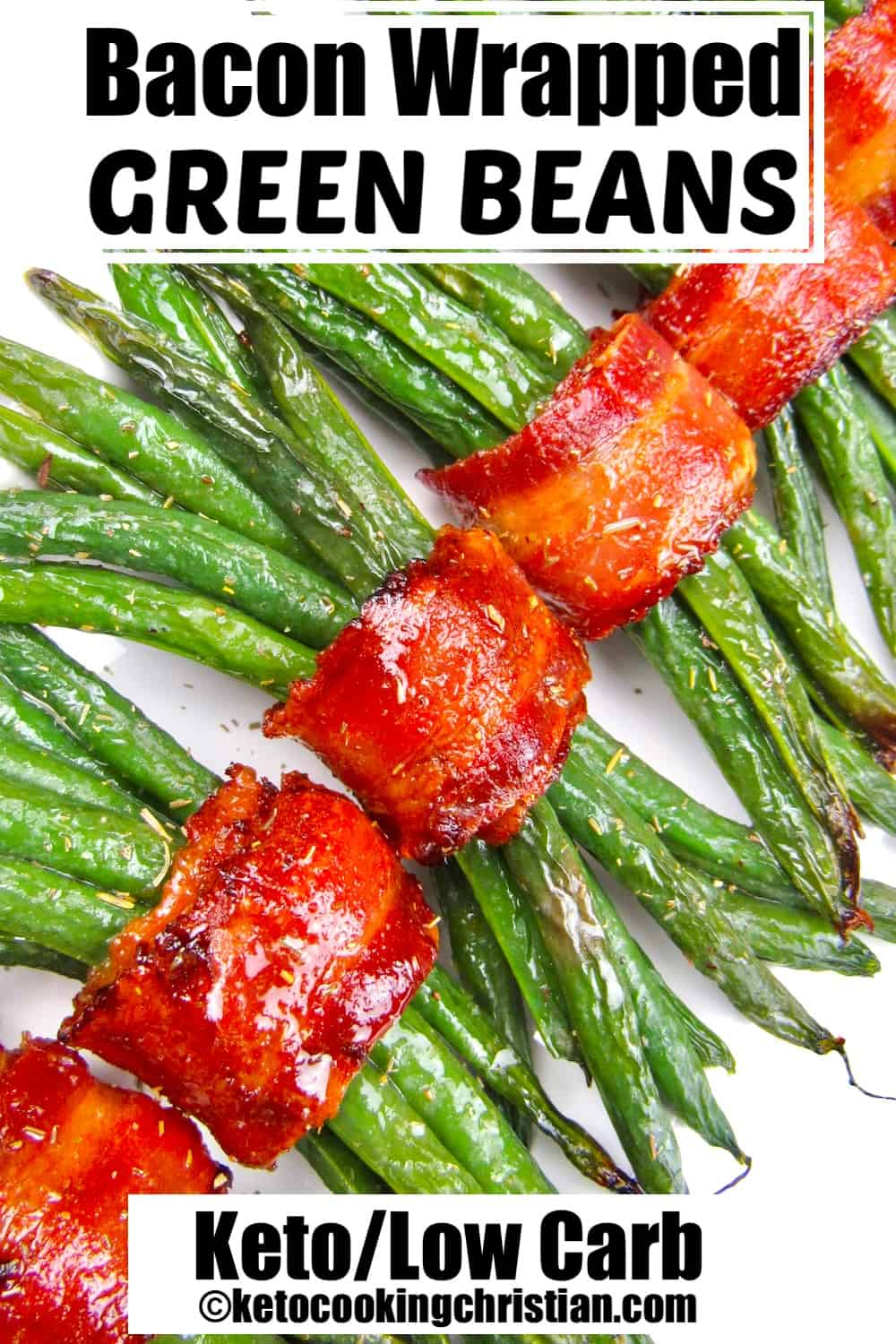 bacon wrapped green beans on white plate running caddy corne