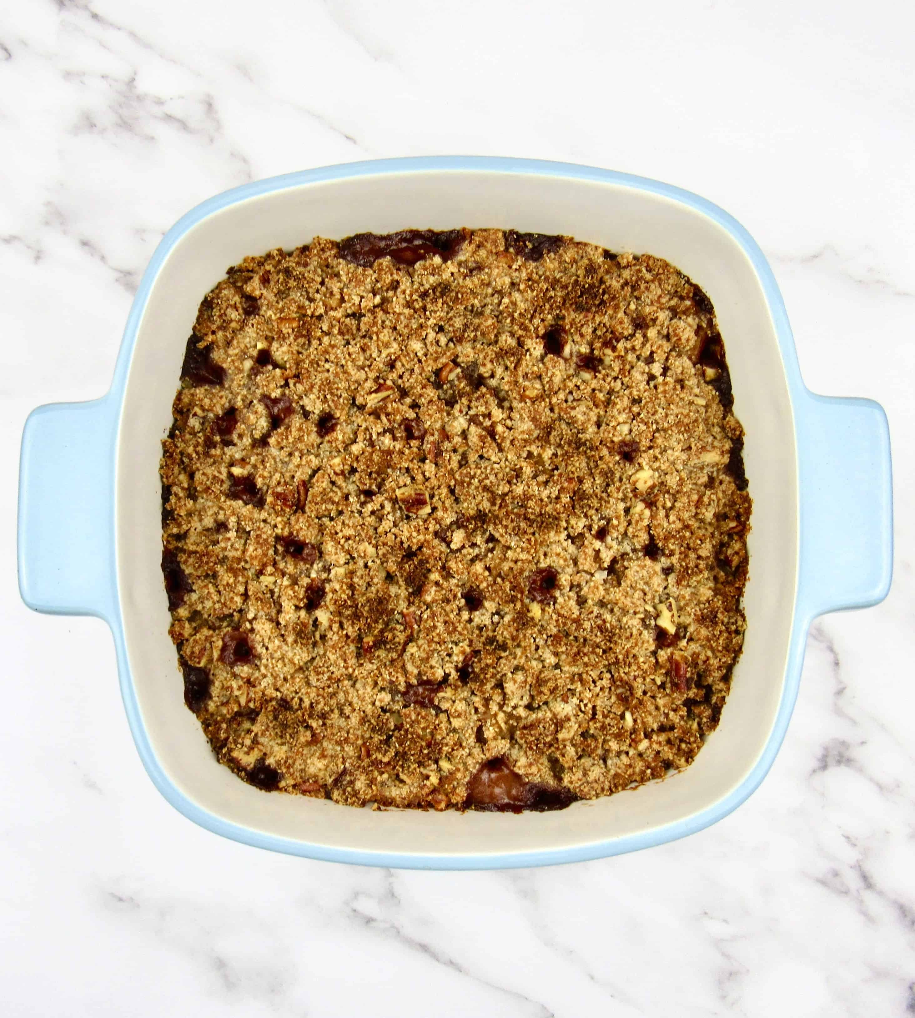 mock apple crumble in casserole baked