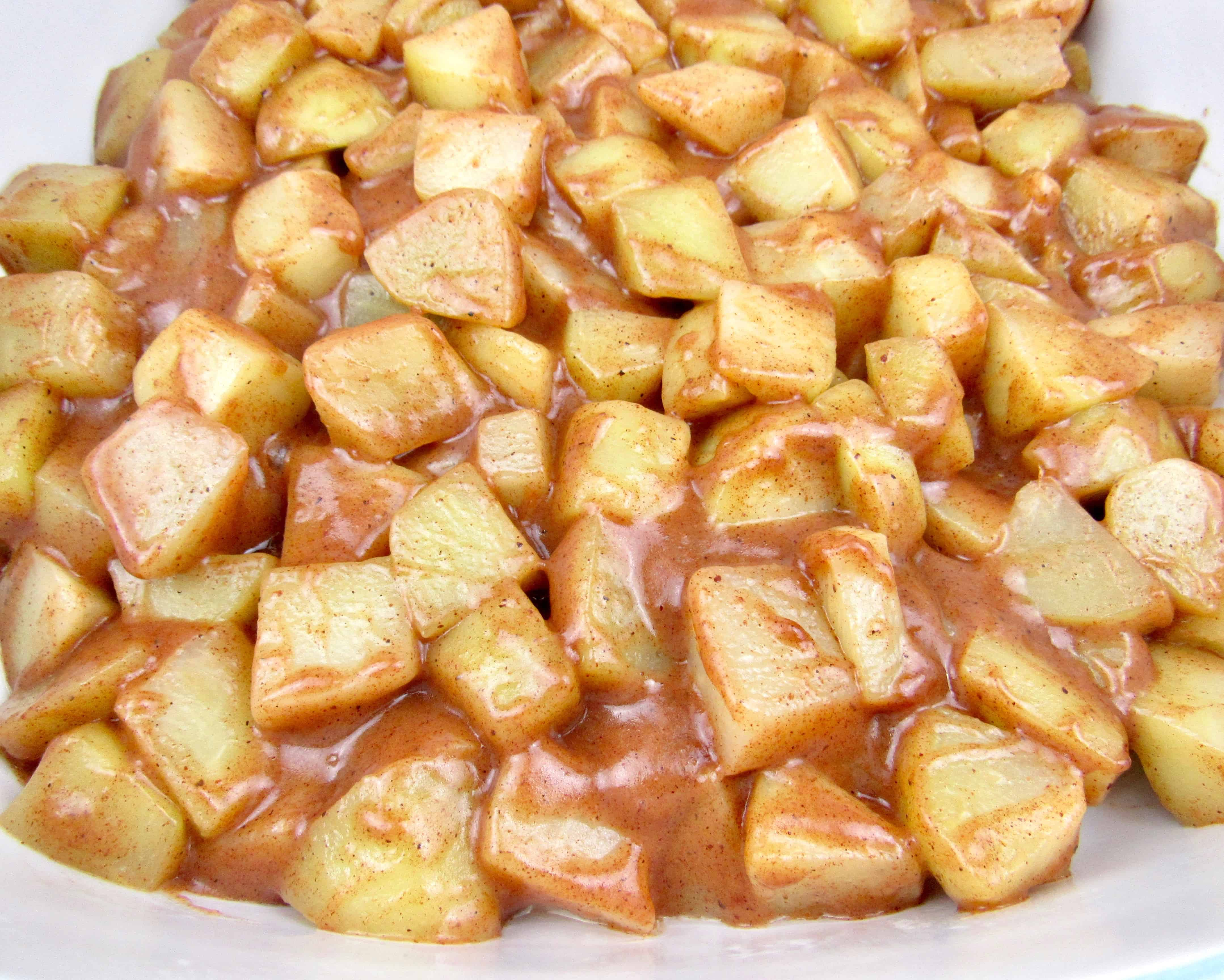closeup of mock apple filling in pot
