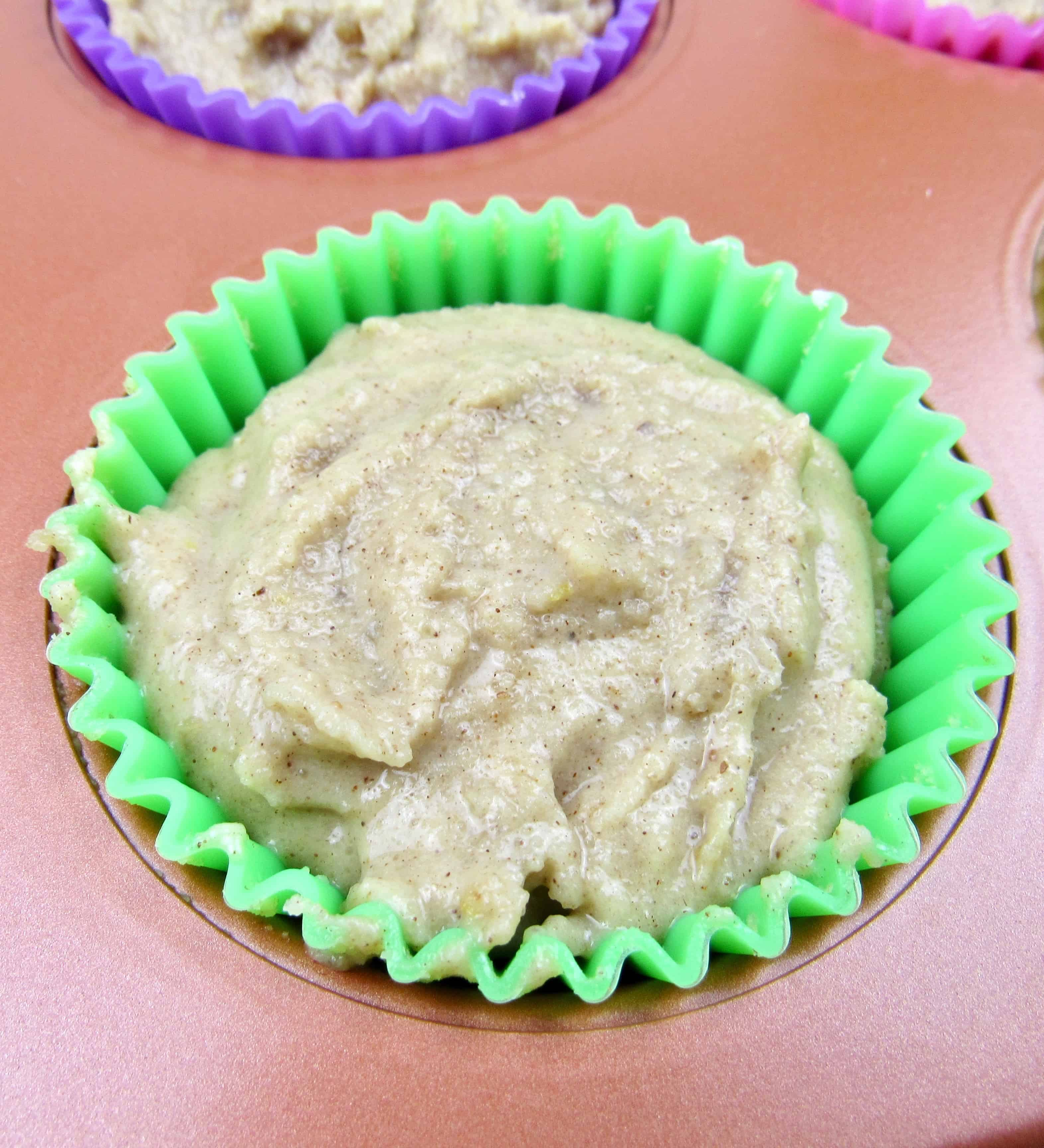 closeup of unbaked mock apple muffin batter in pan