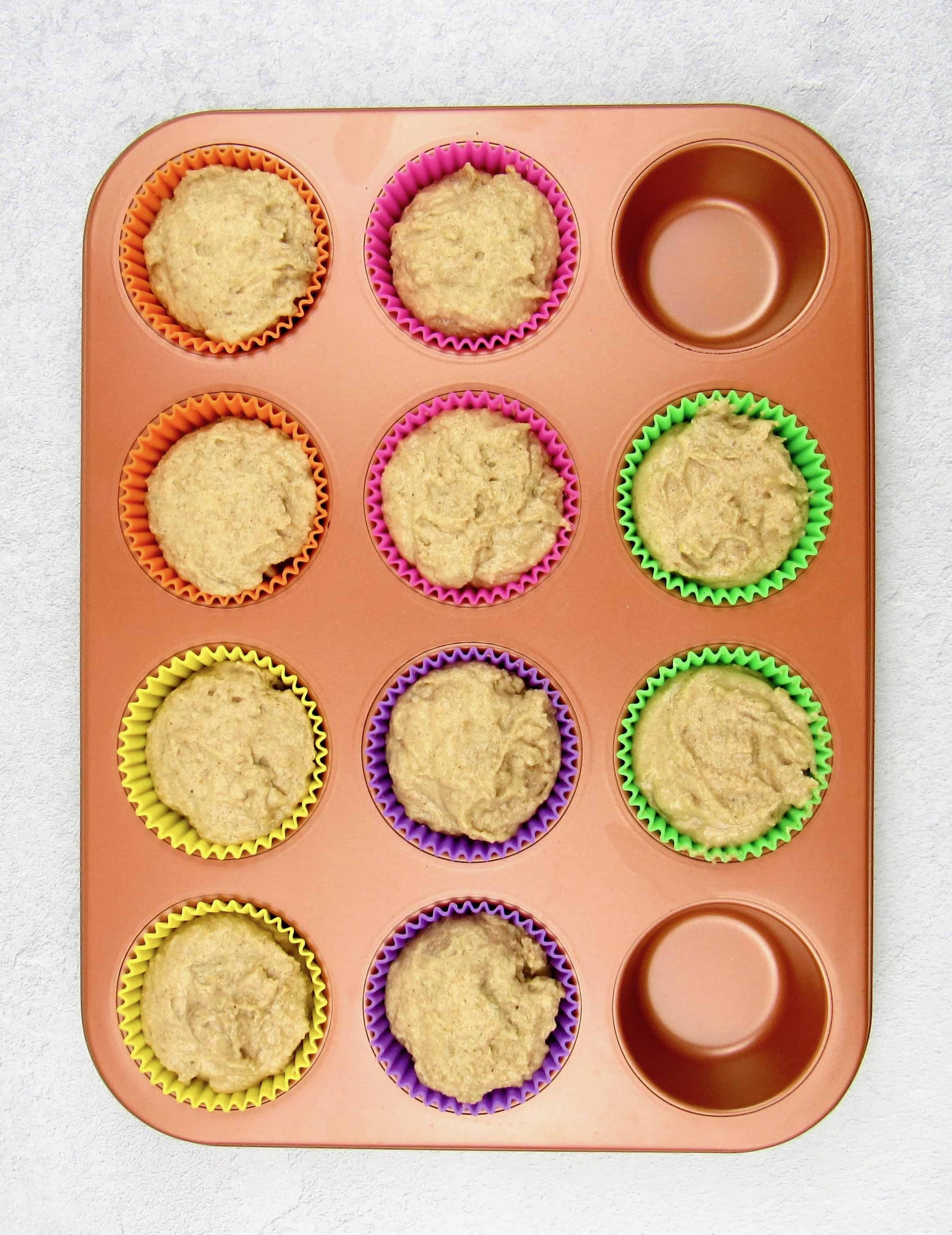 unbaked mock apple muffin batter in muffin pan