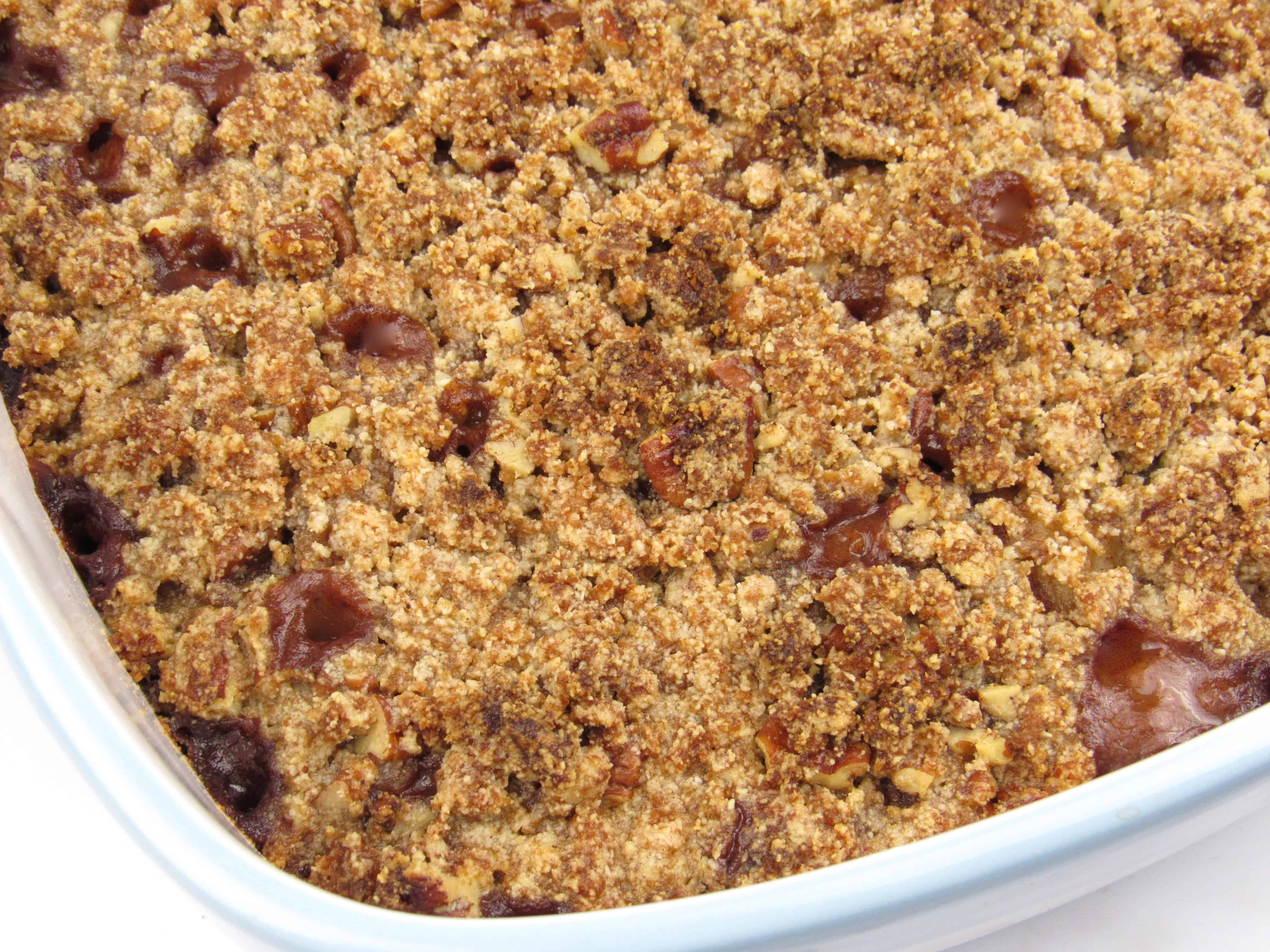 closeup of mock apple crumble in casserole baked