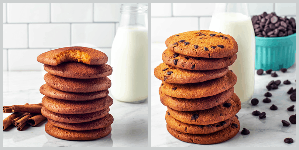 stack of chocolate chip and snickerdoodle cookies with glass milk container in background
