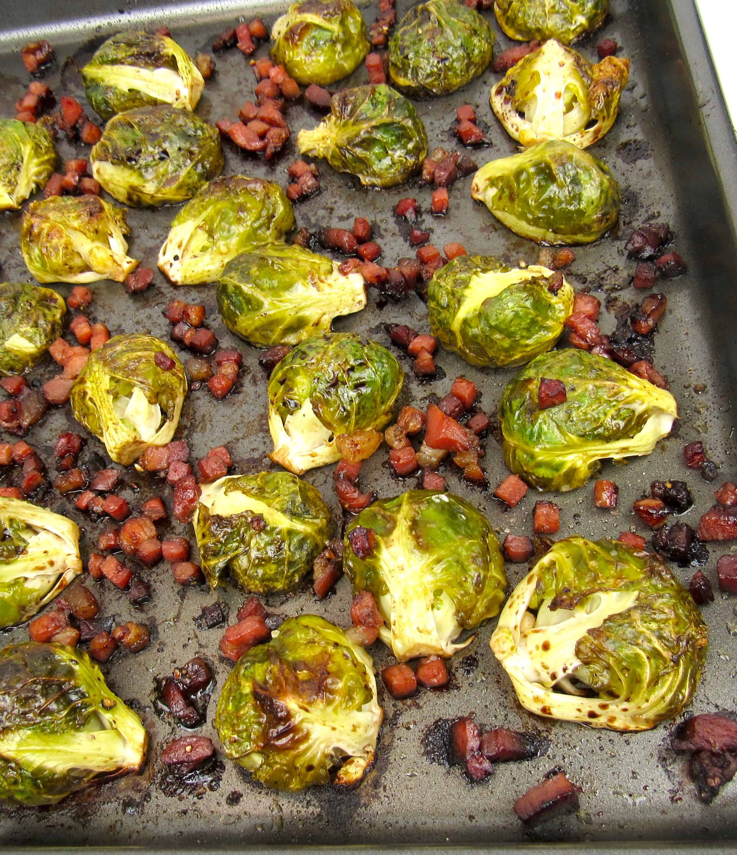 roasted balsamic brussels sprouts on sheet pan