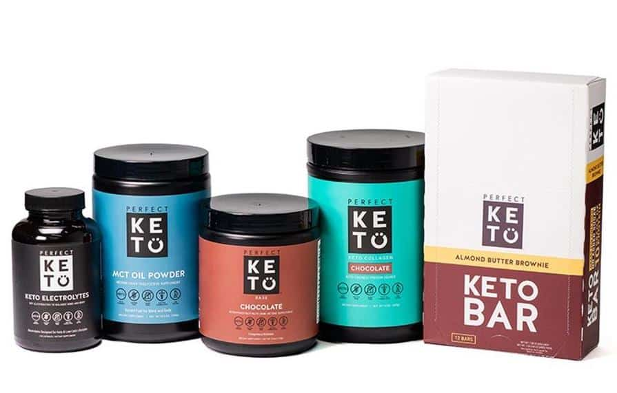 containers of perfect keto products on white background