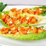 closeup of buffalo shrimp in lettuce wraps