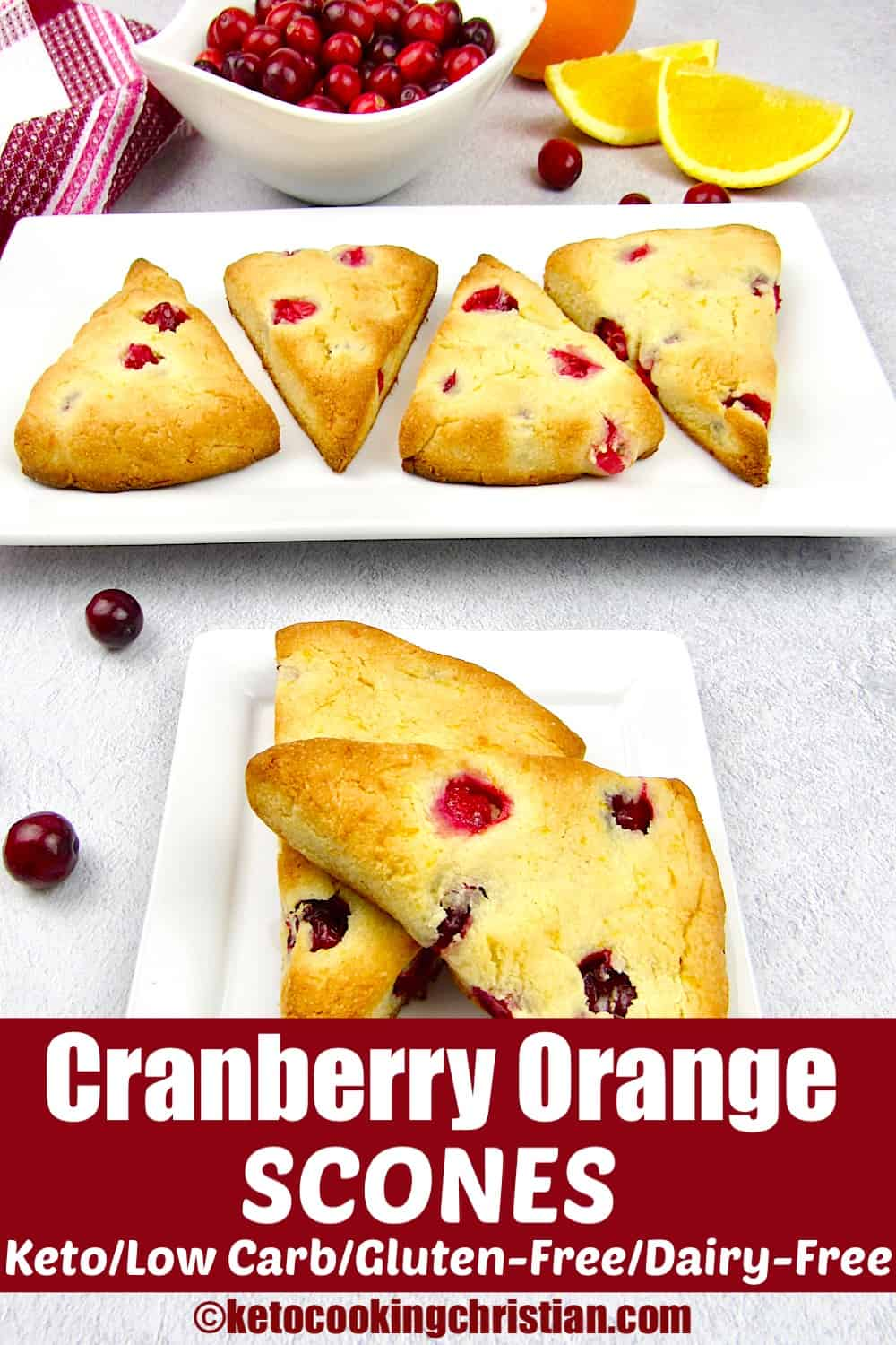 closeup of cranberry scones with more in the background
