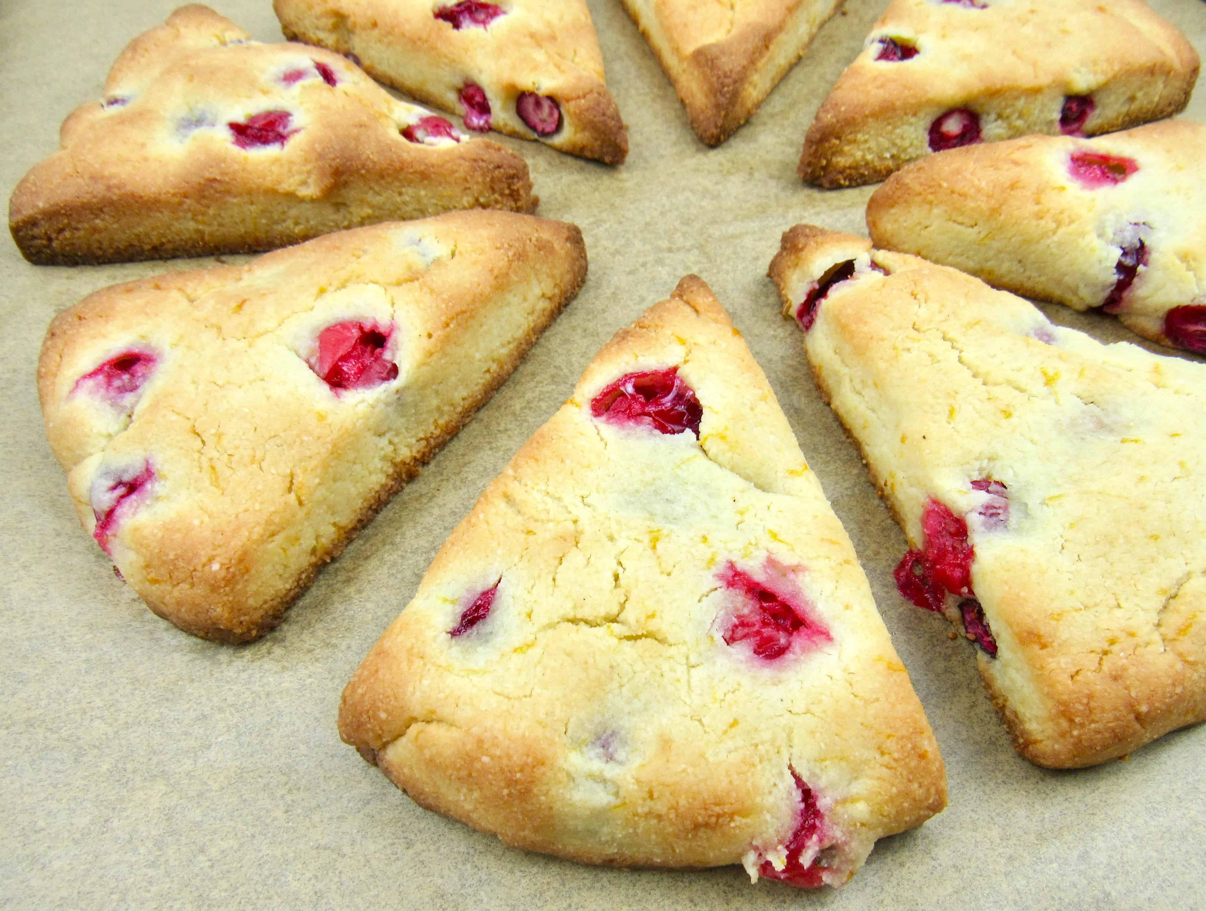 closeup of baked scones on sheet pan