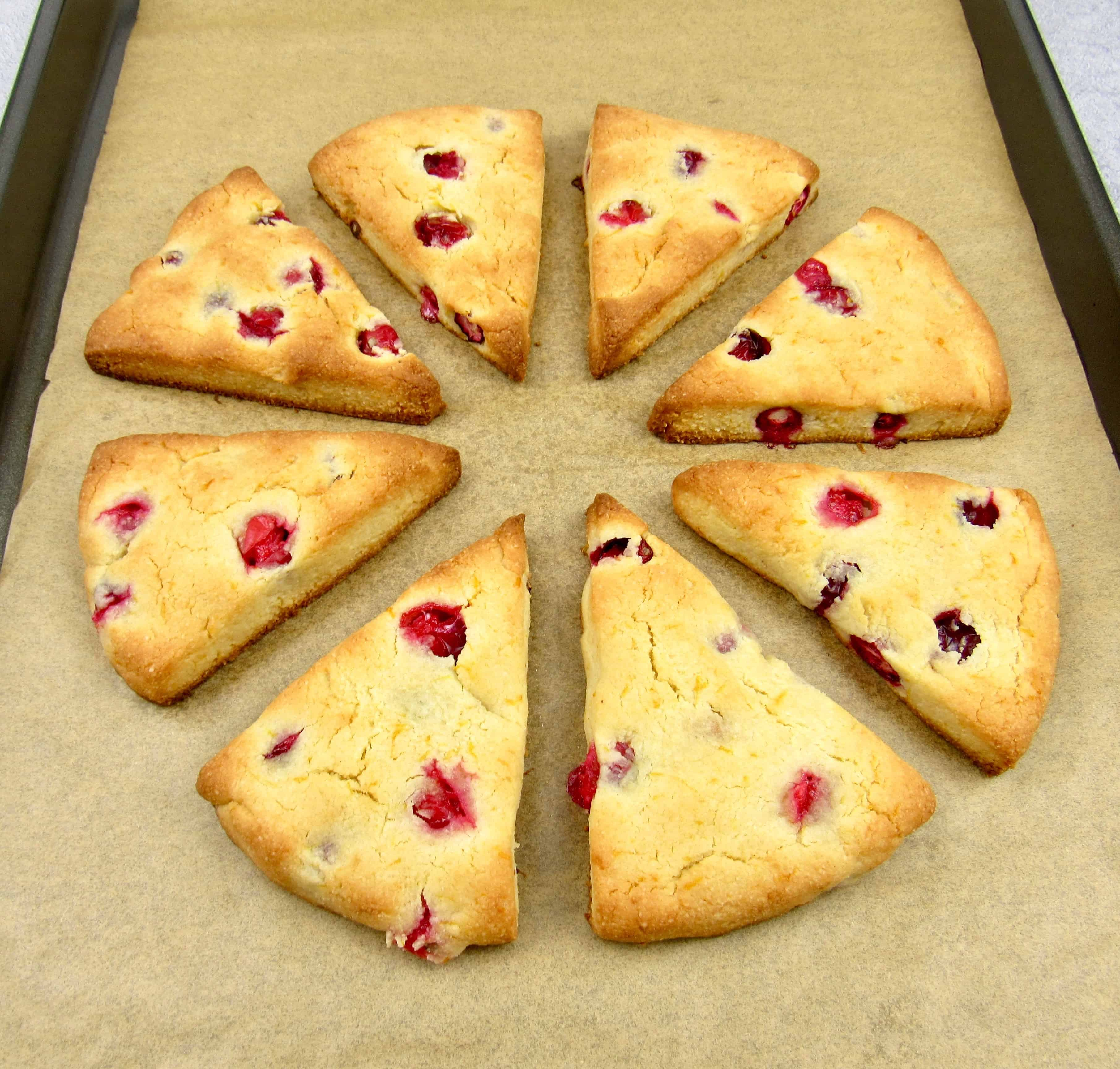 baked cranberry scones on sheet pan