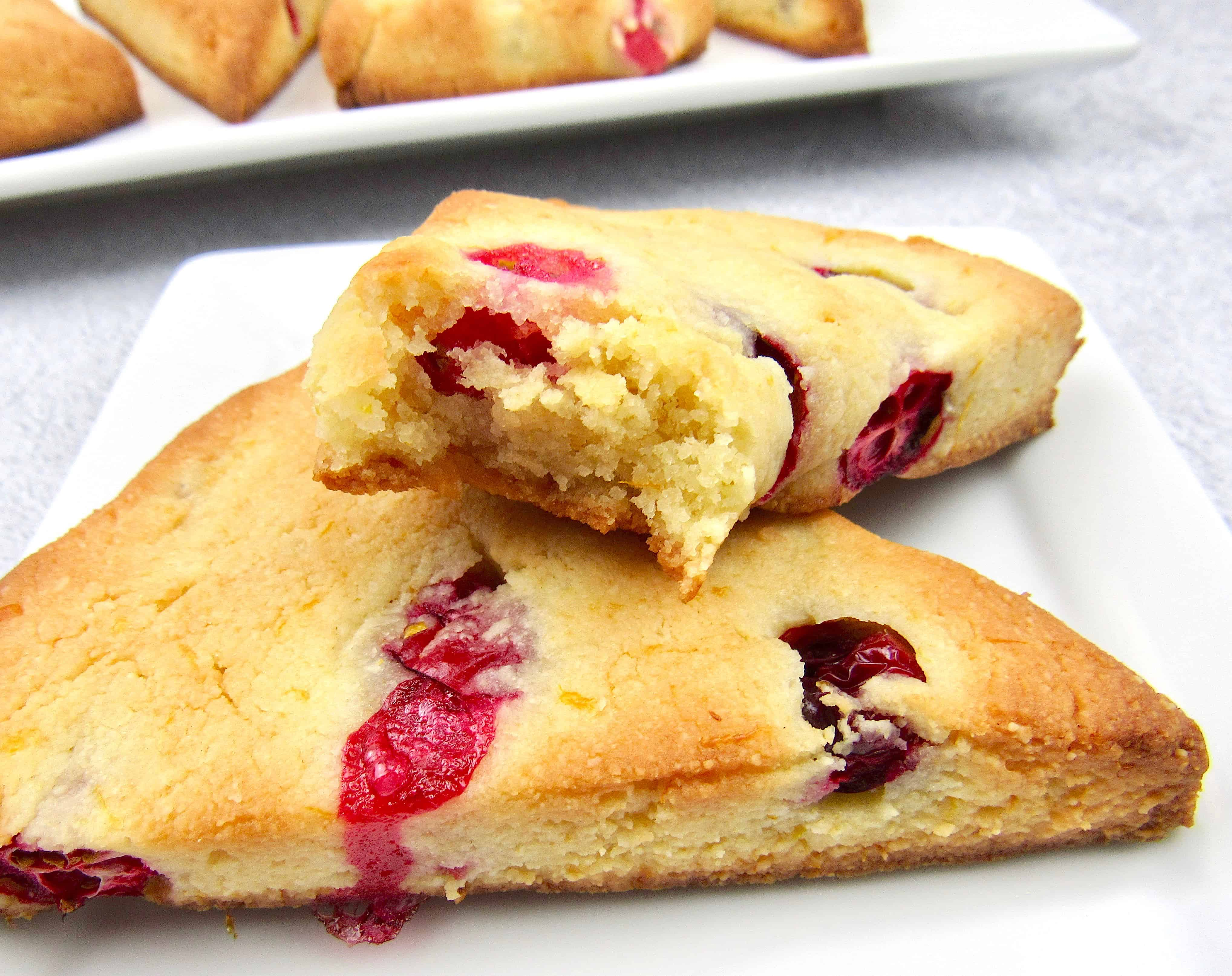 closeup of cranberry scones with bite taken out