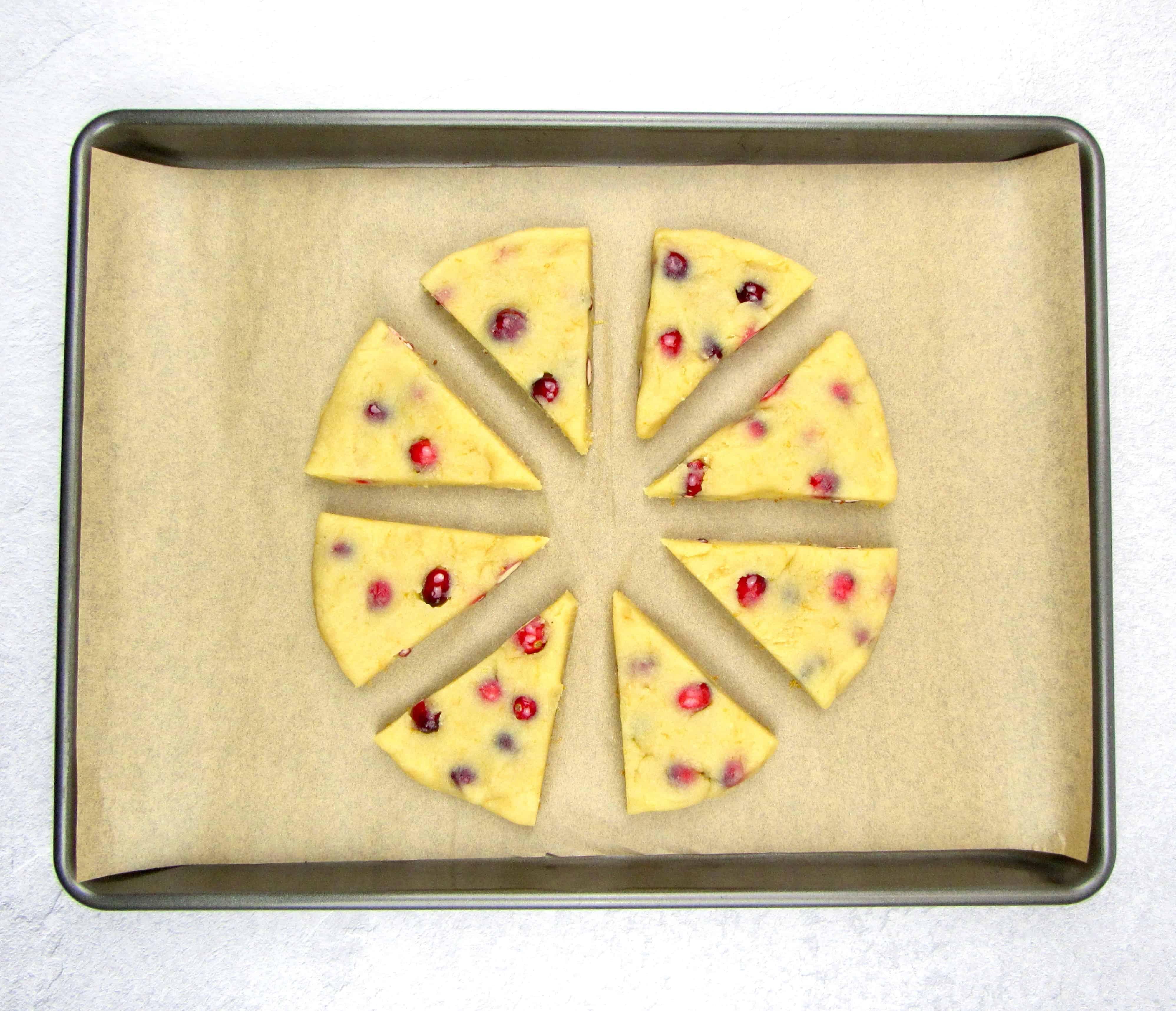 scones dough on sheet pan cut in 8 wedges