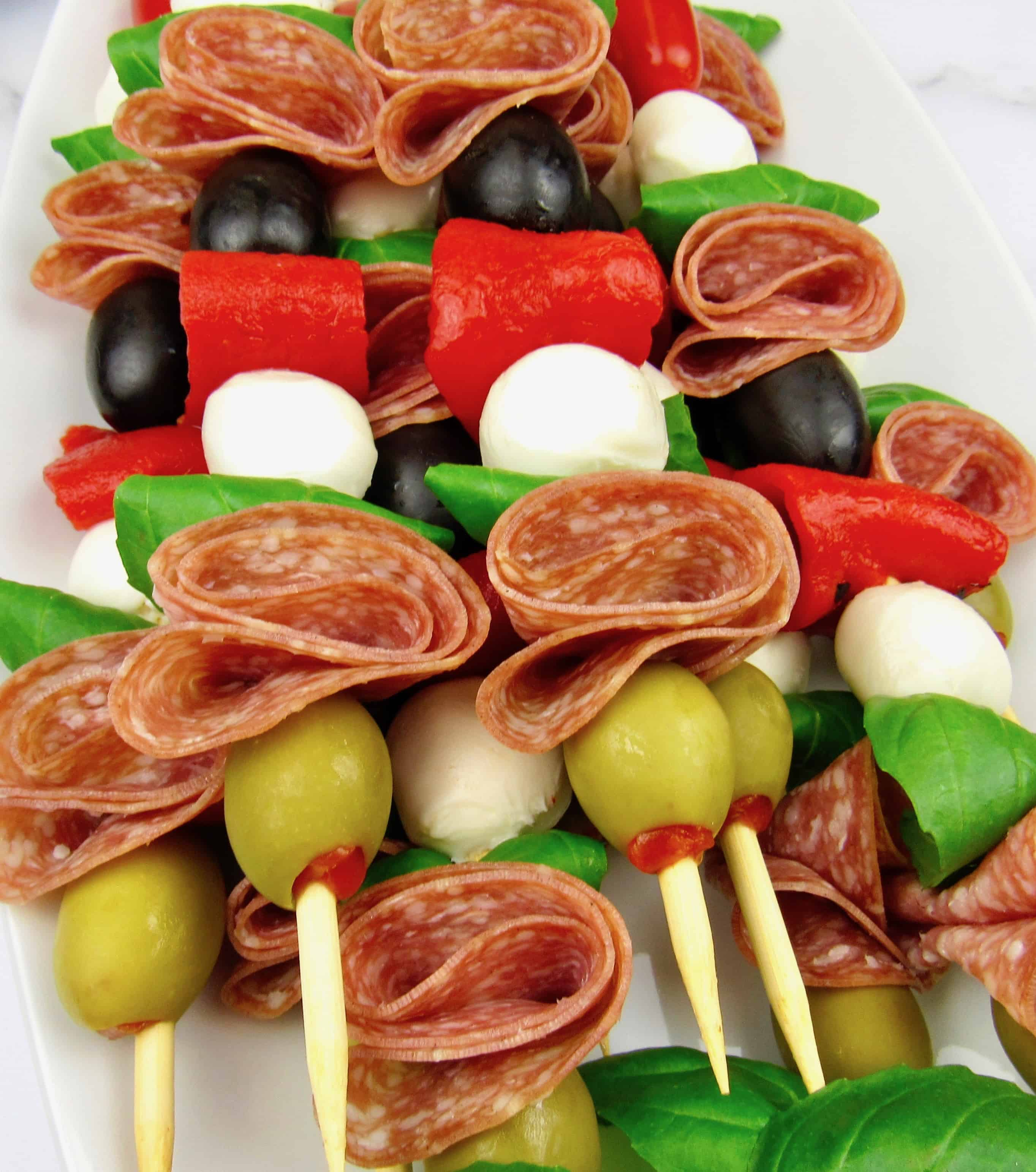 closeup overhead view of antipasti skewers