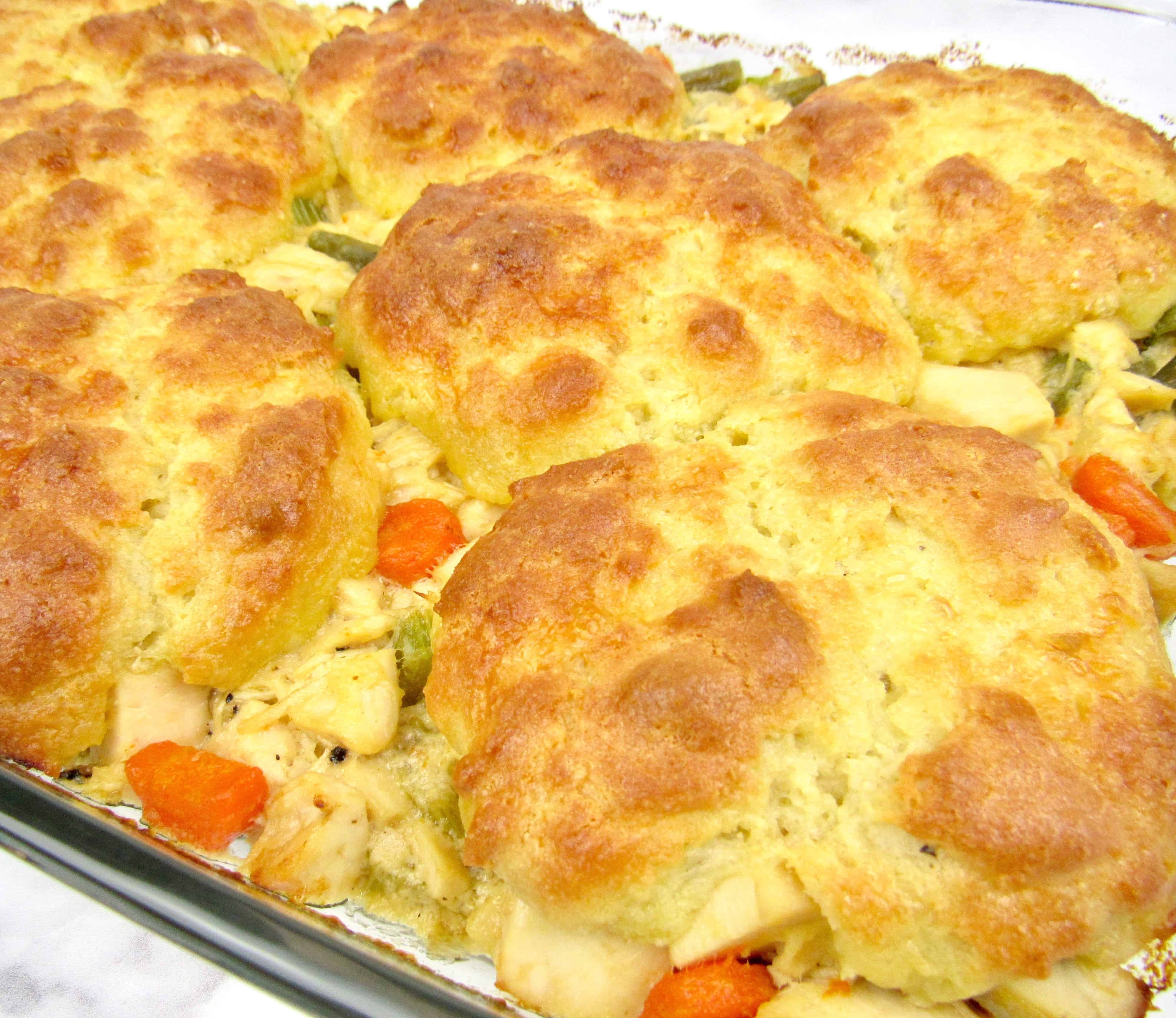 closeup of chicken pot pie casserole