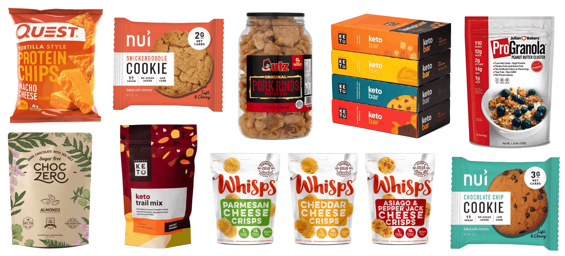 collage of prepackaged store-bought Keto snacks