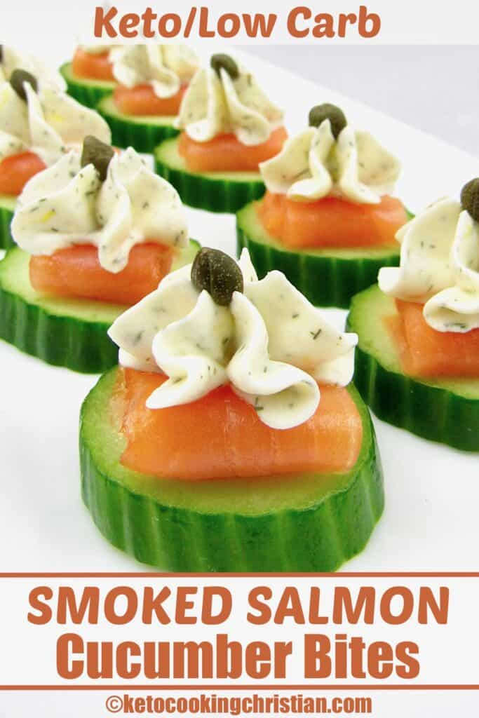 closeup of Smoked Salmon Cucumber Bites on white plate