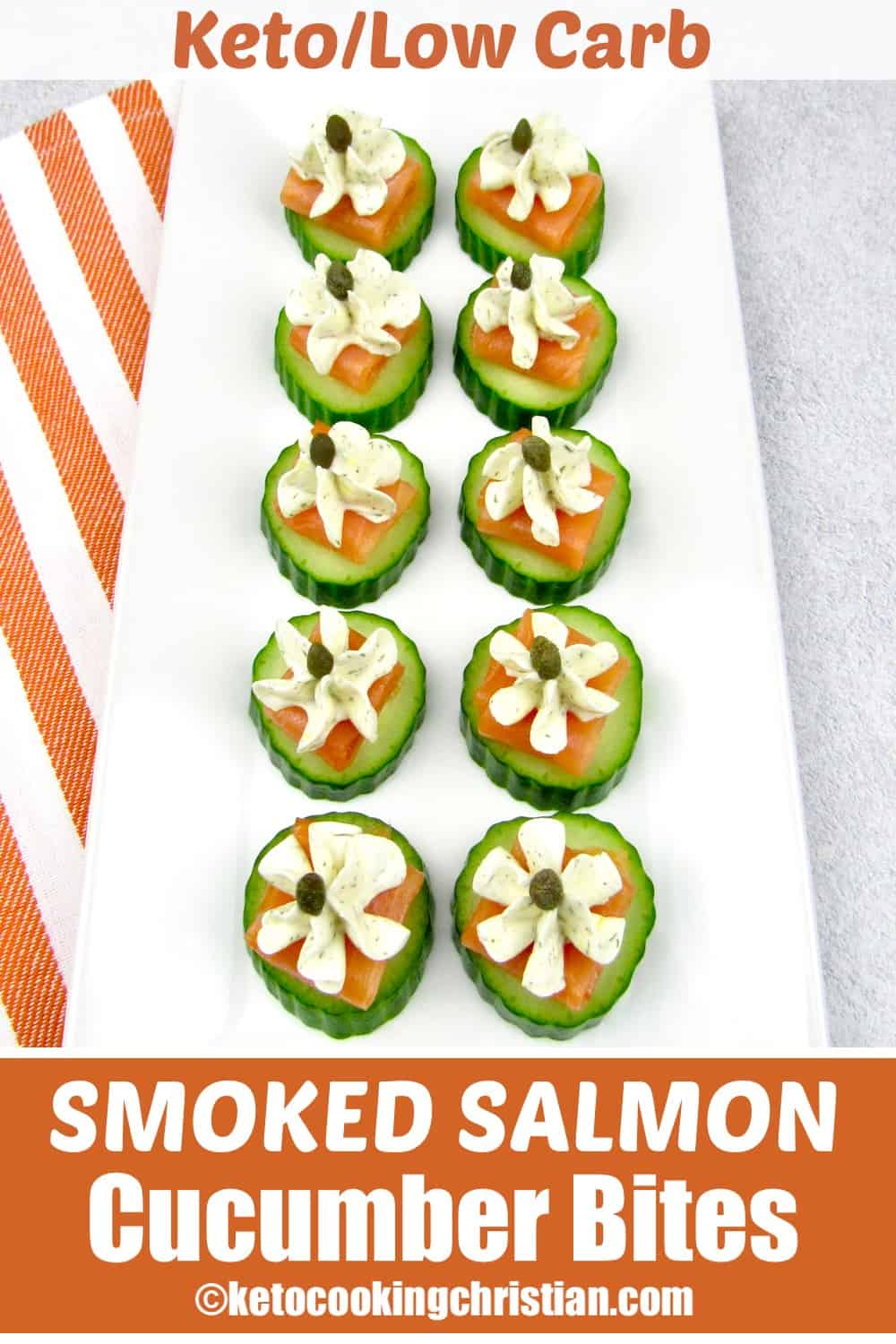 overhead view of Smoked Salmon Cucumber Bites on white platter