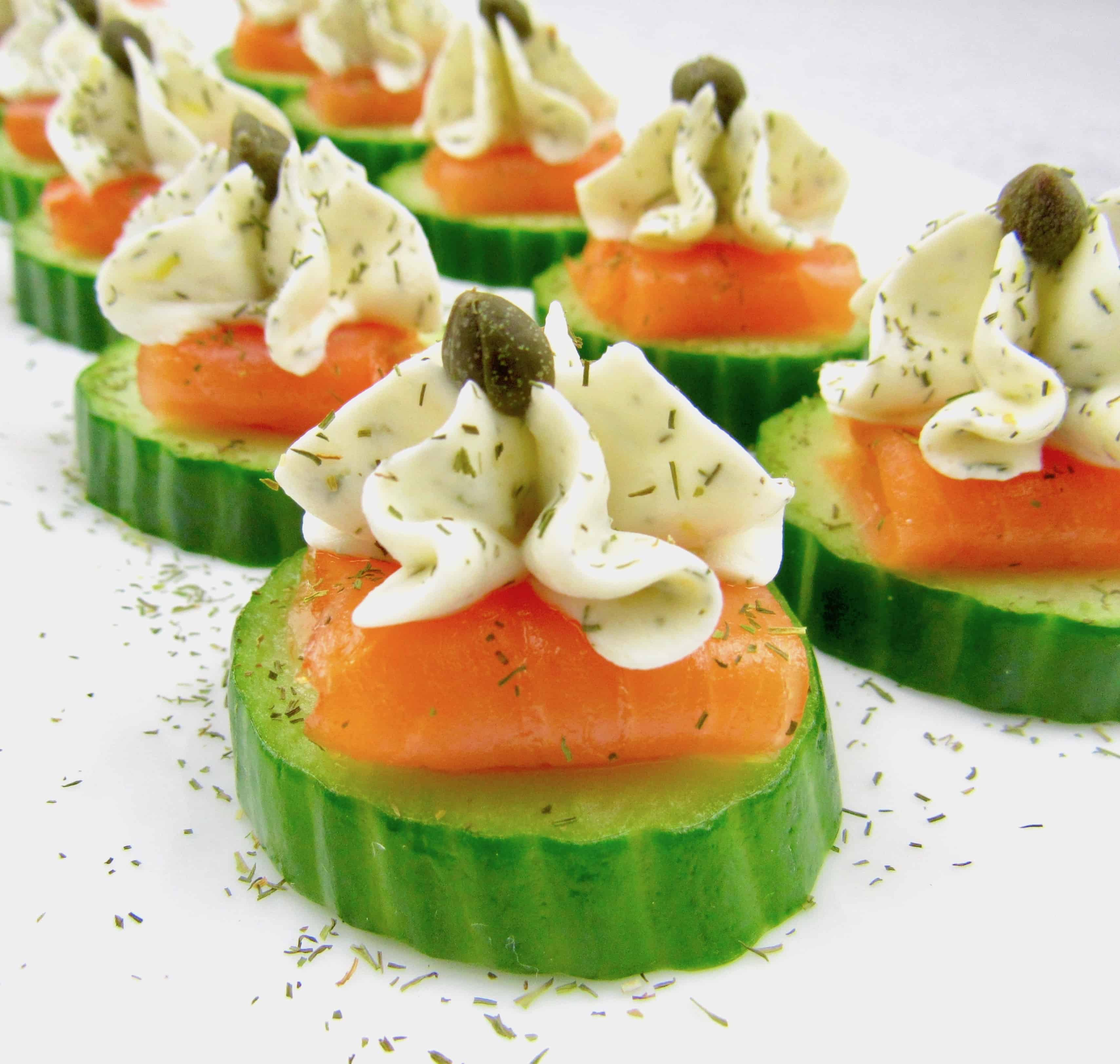 closeup of Smoked Salmon Cucumber Bites with Dill