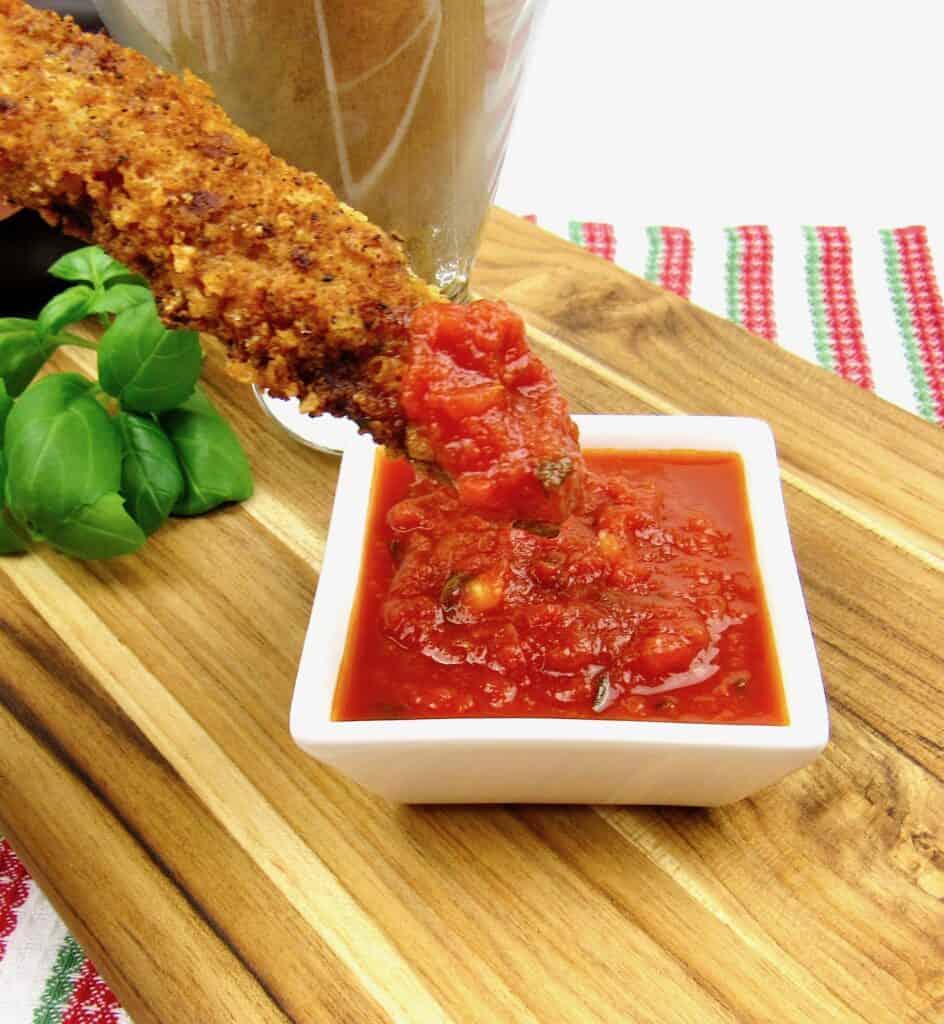 eggplant fries dipped in marinara sauce