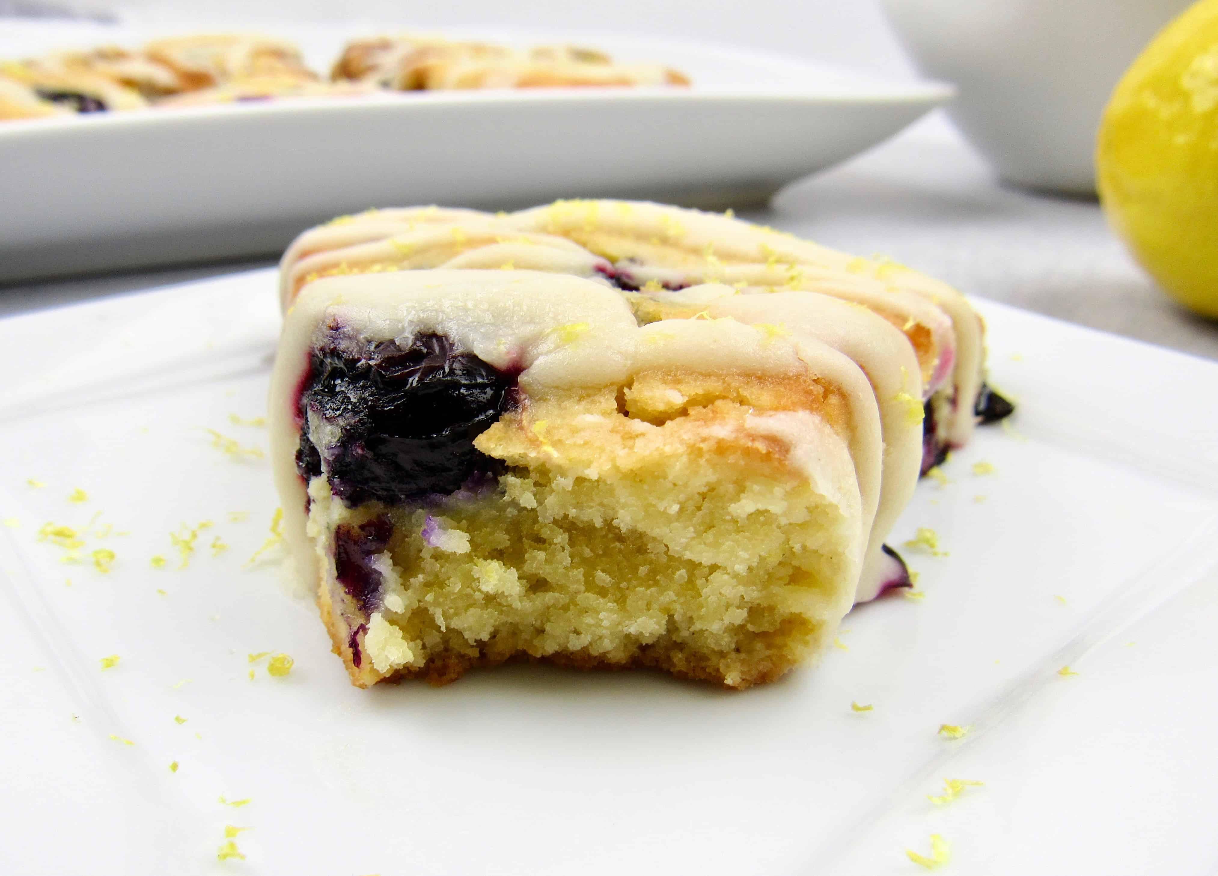 closeup of cut open blueberry lemon scone