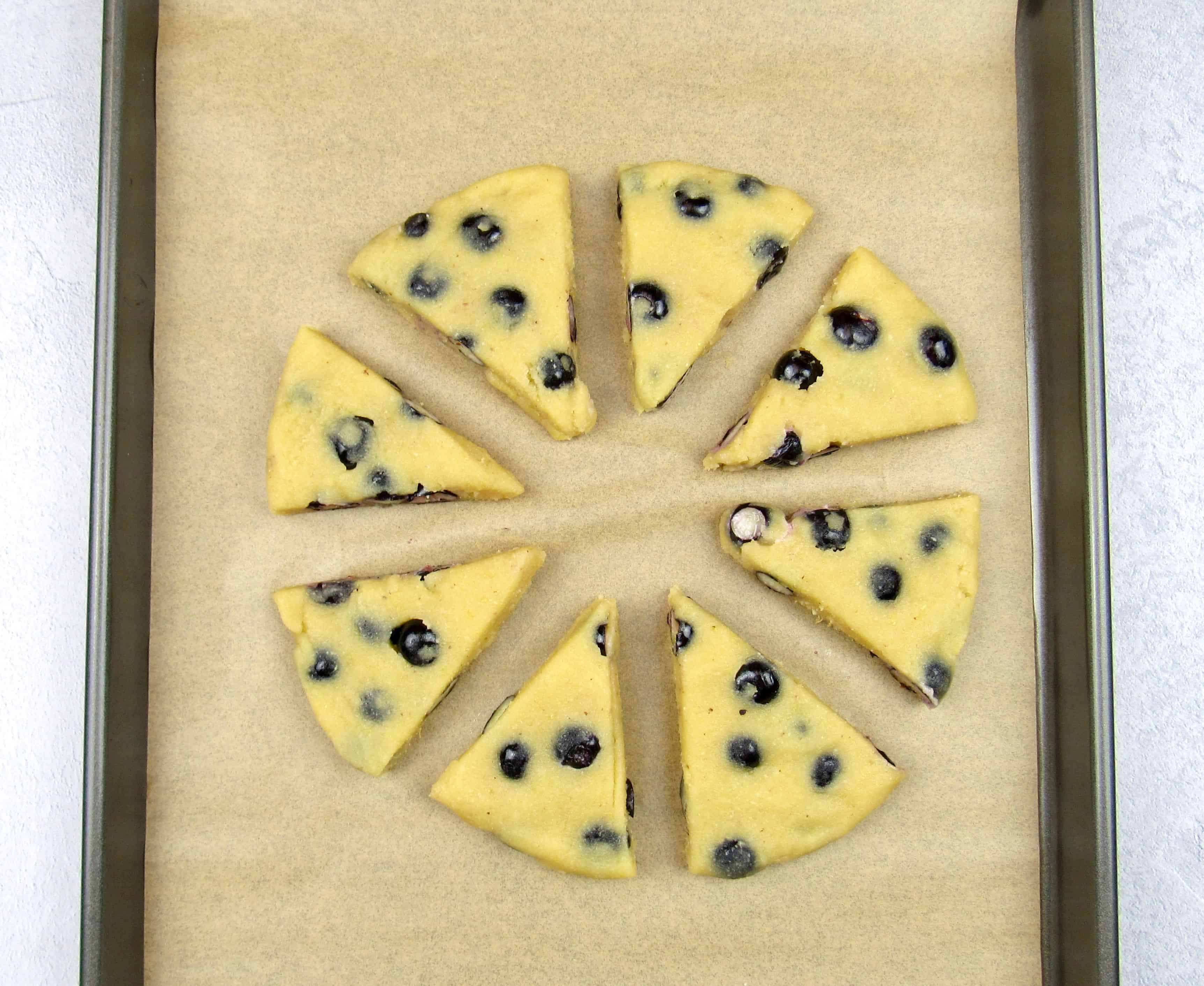 blueberry lemon scones dough cut on sheet pan