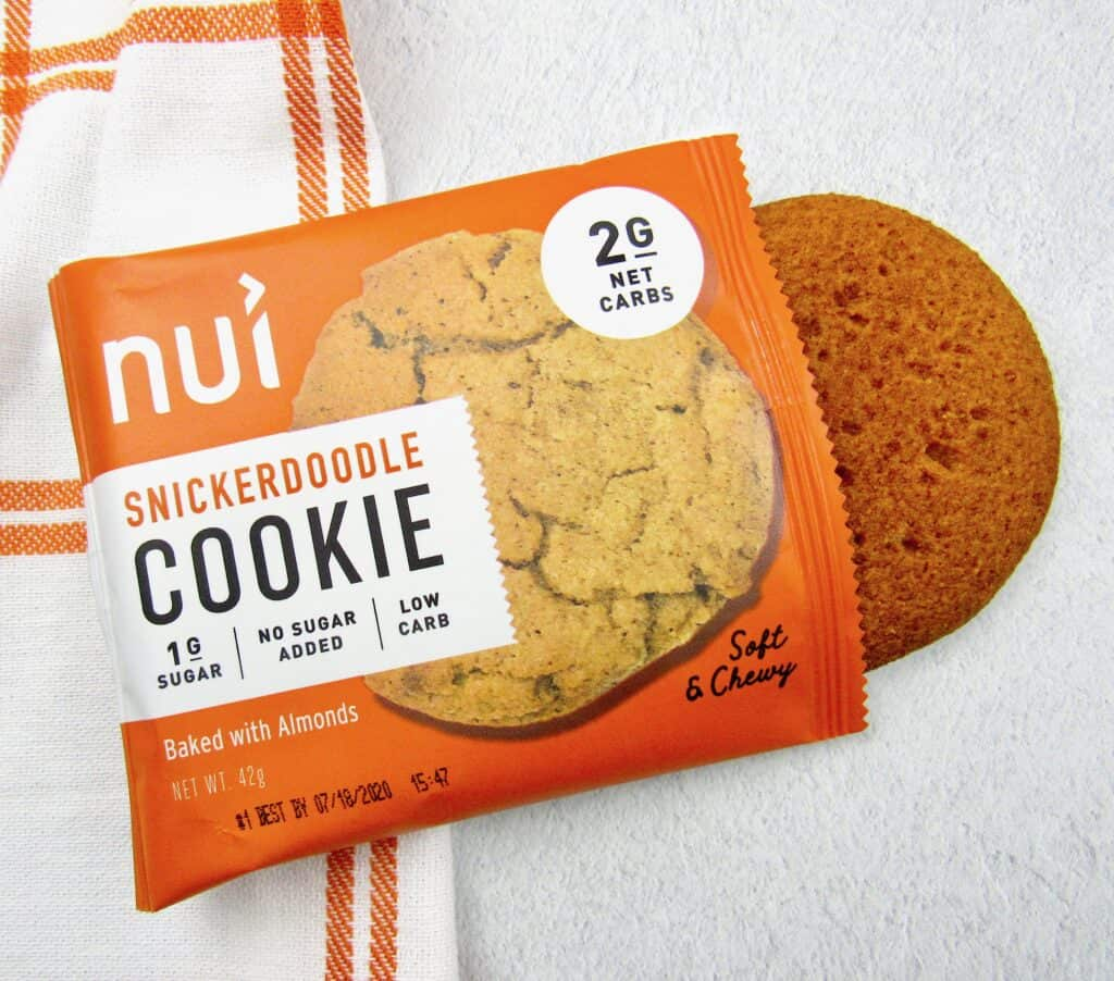 closeup of Nui Snickerdoodle cookies out of package