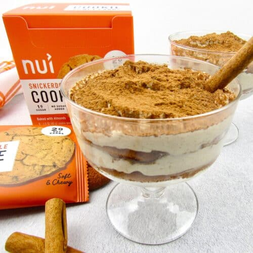 closeup of snickerdoodle tiramisu with Nui cookies in background