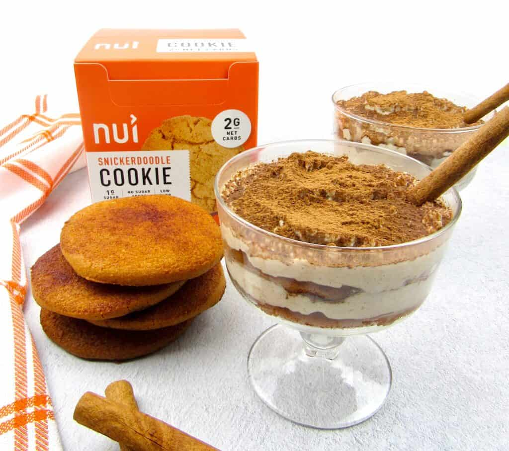 snickerdoodle tiramisu in glasses with stack of cookies next to