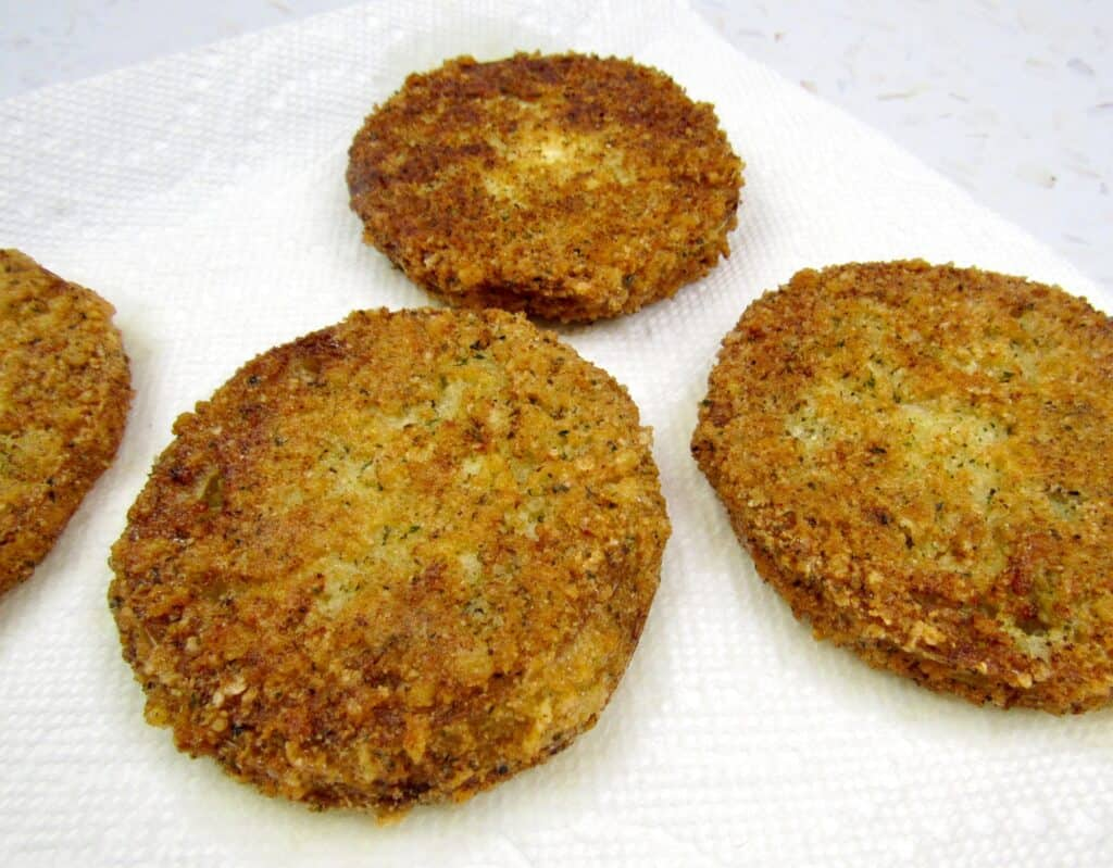 fried green tomatoes on paper towels