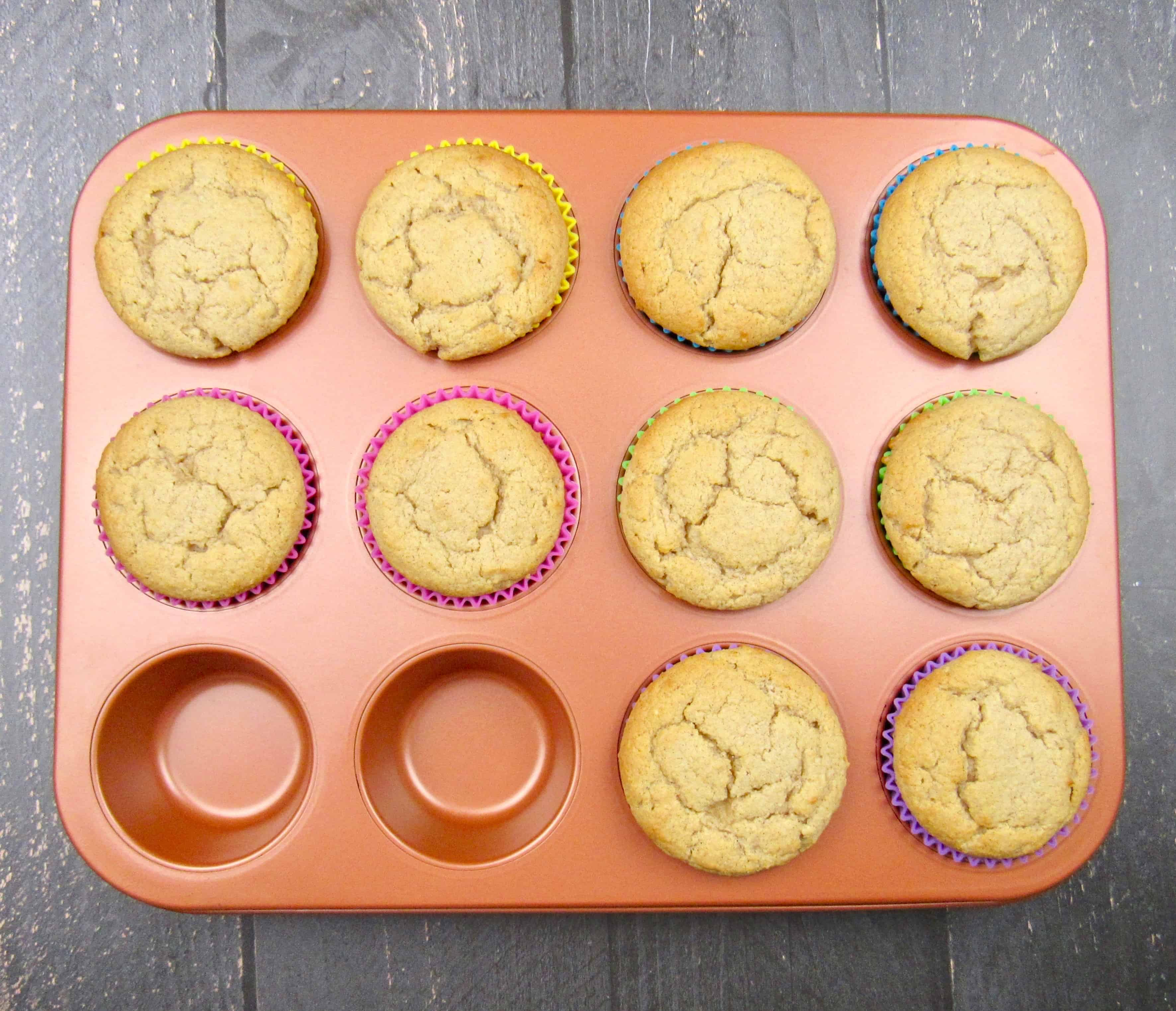 snickerdoodle muffins in muffin liners baked