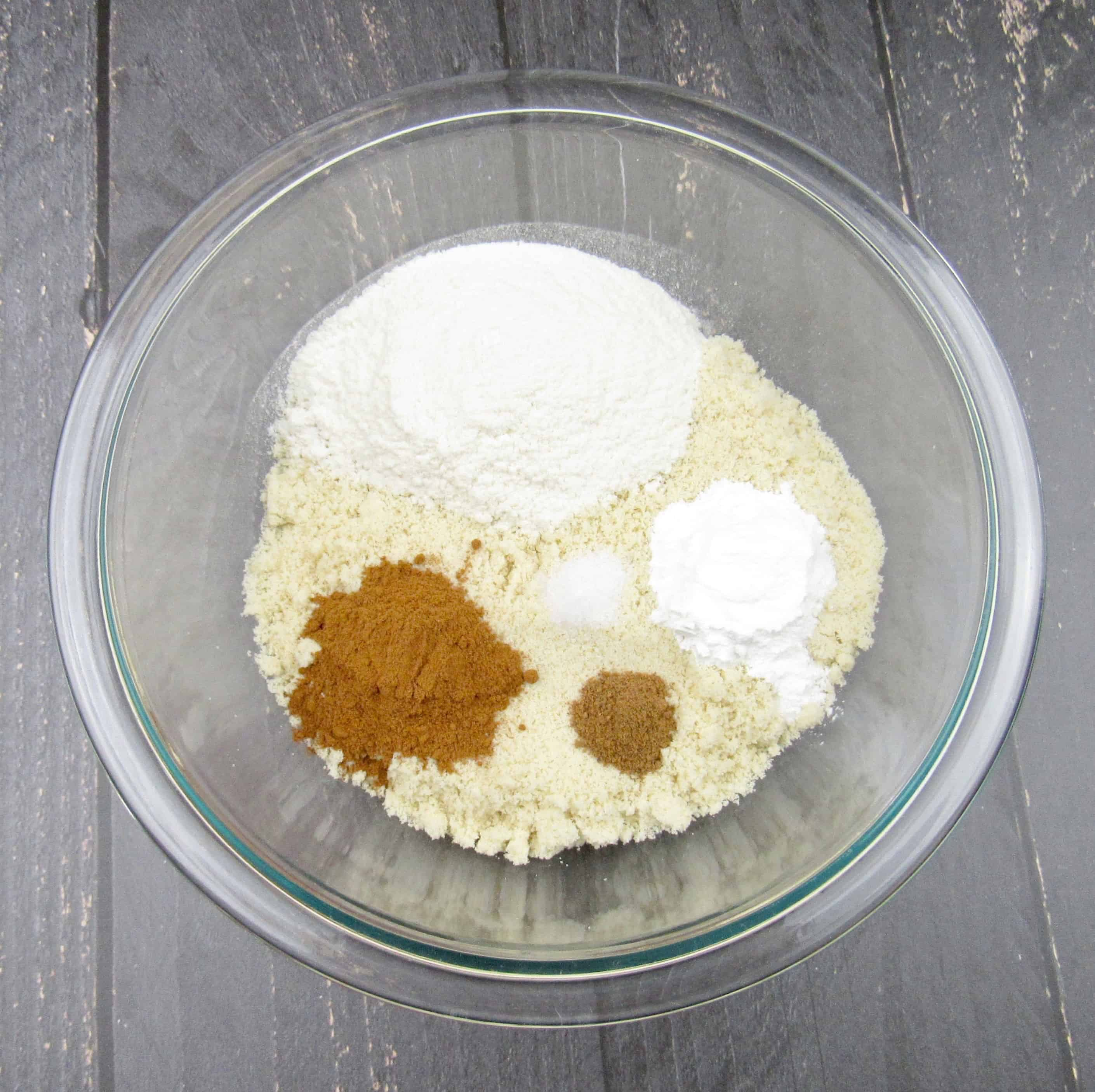 snickerdoodle muffins dry ingredients in glass bowl