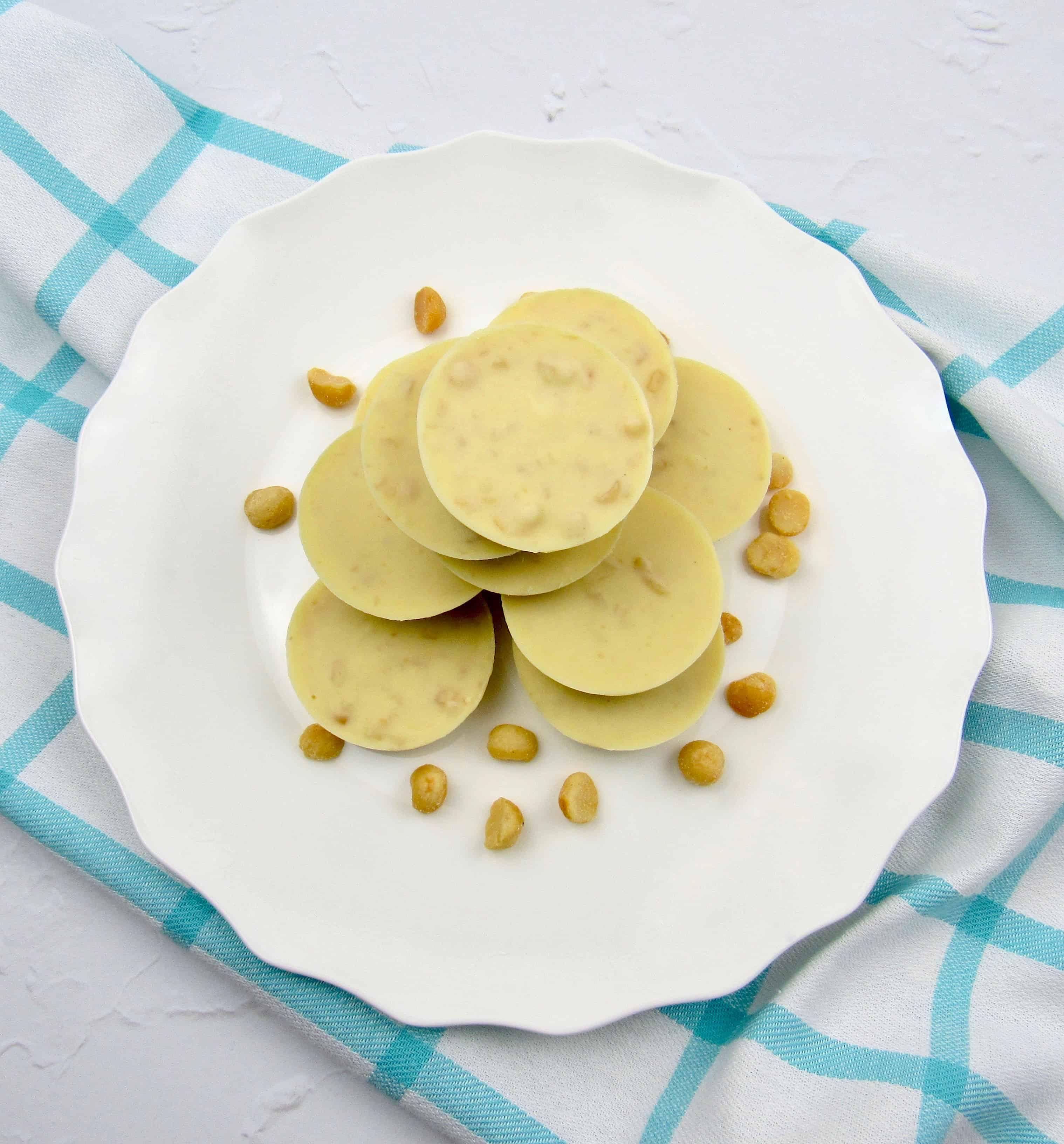 overhead view of white chocolate macadamia nut fat bombs