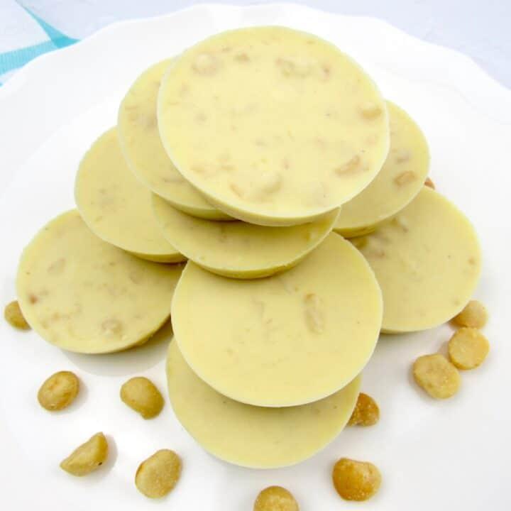 White Chocolate Macadamia Keto Fat Bombs on white plate