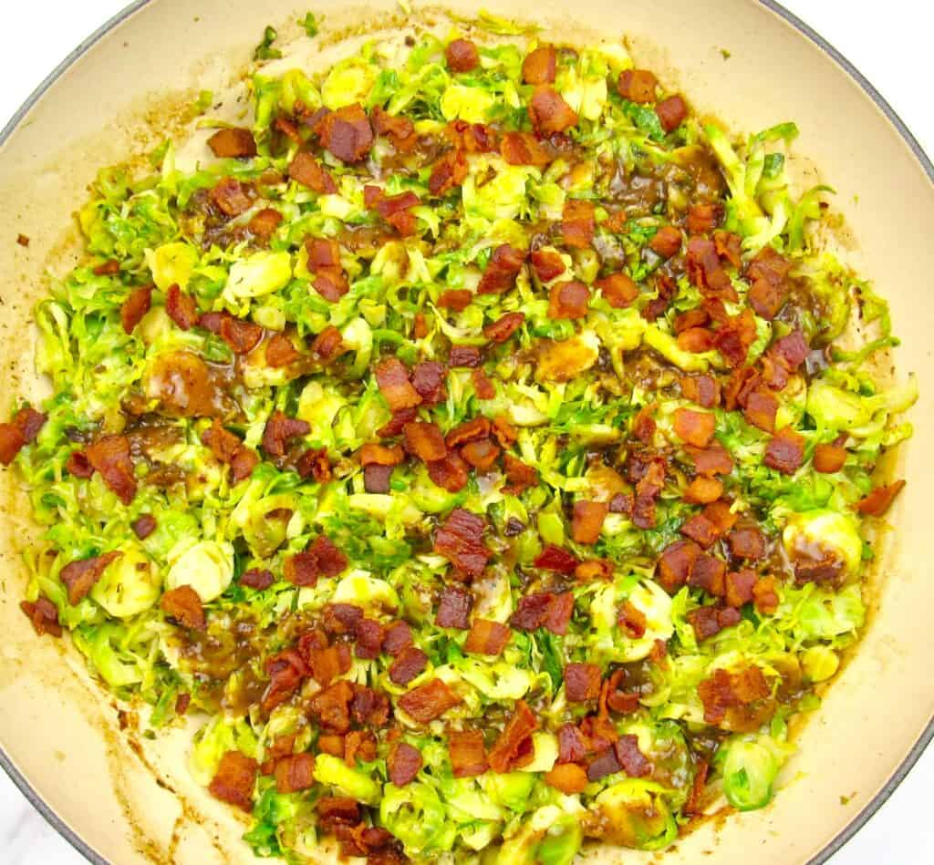 Brussels Sprouts with bacon topping in skillet