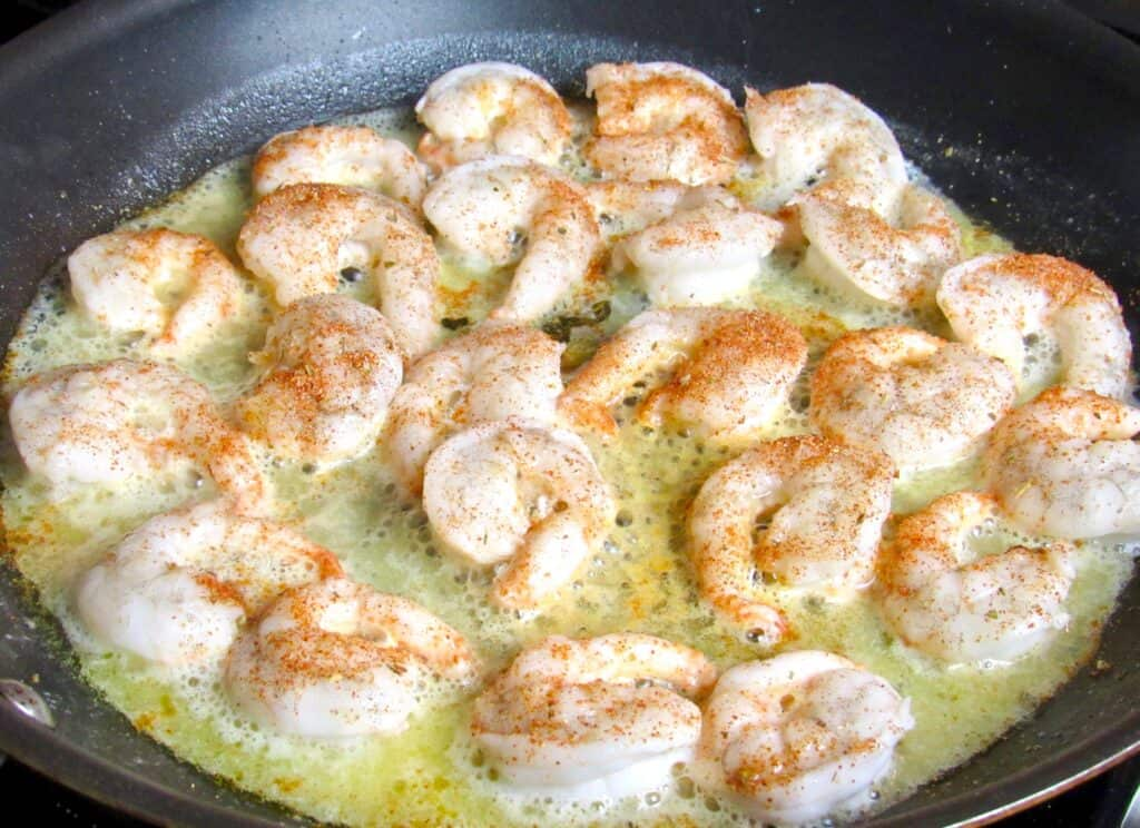cajun shrimp cooking in butter