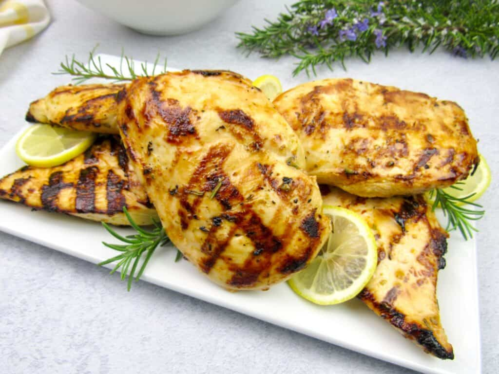 grilled chicken on white plate