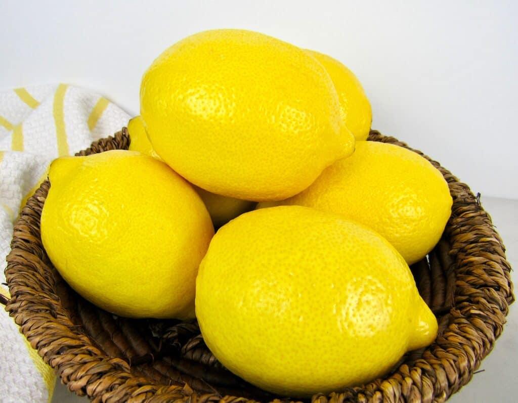 Lemons in wicker basket