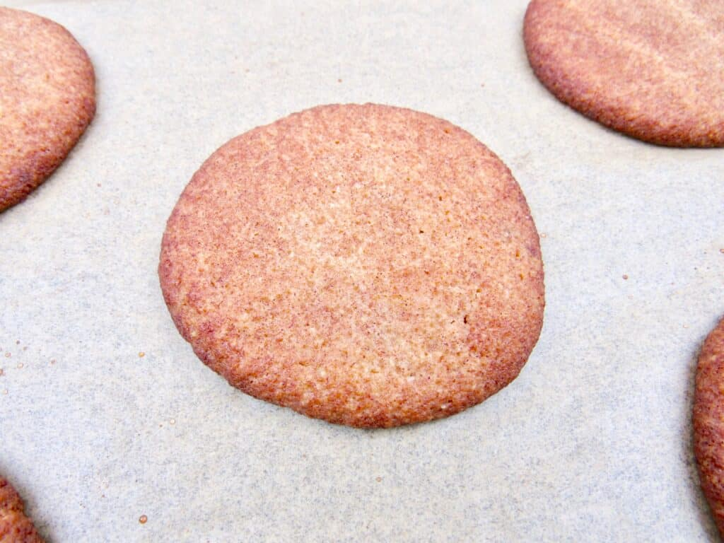 baked snickerdoodle cookie on baking sheet