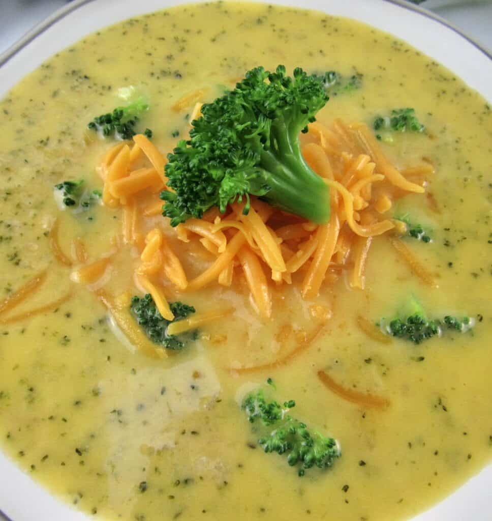 closeup of broccoli cheese soup in bowl
