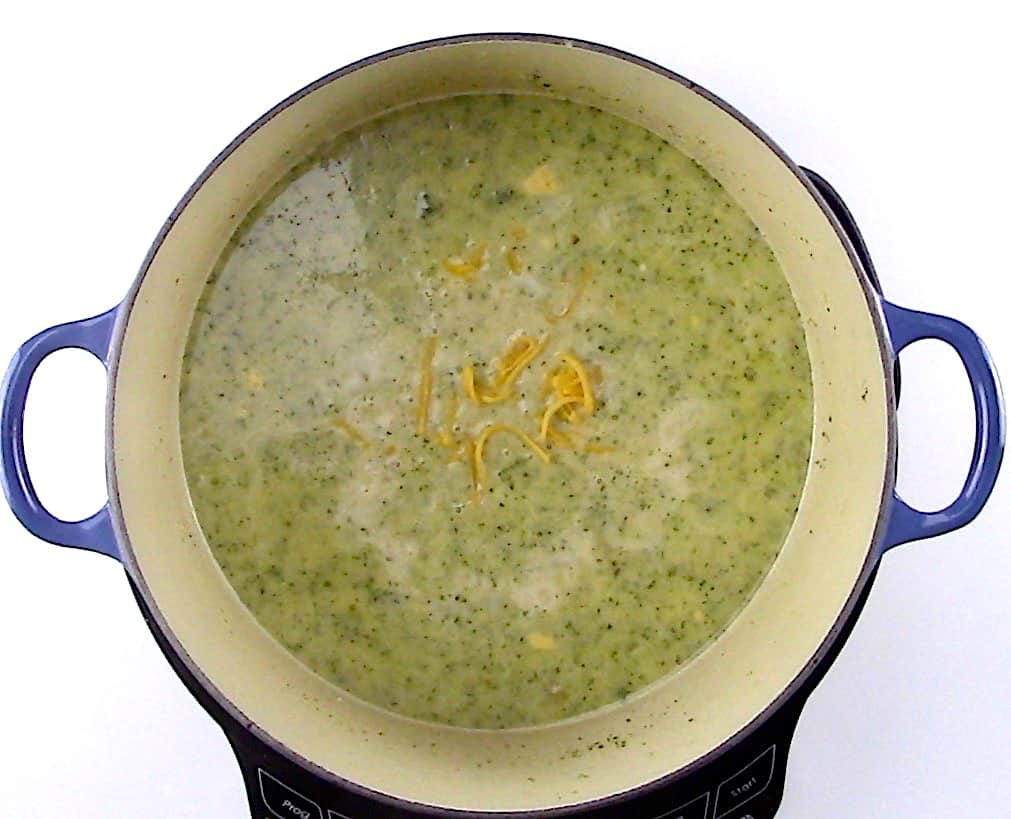 finished broccoli cheese soup in large pot