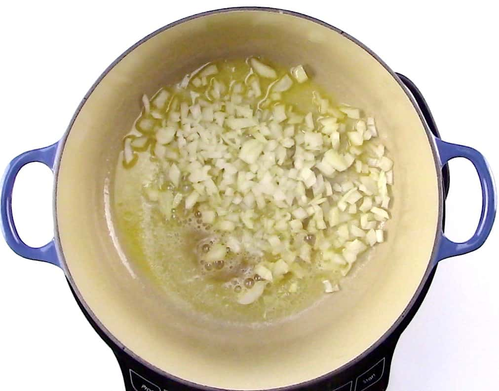 diced onions sauteing in pot