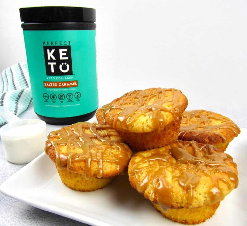 salted caramel muffins with Perfect Keto collagen container