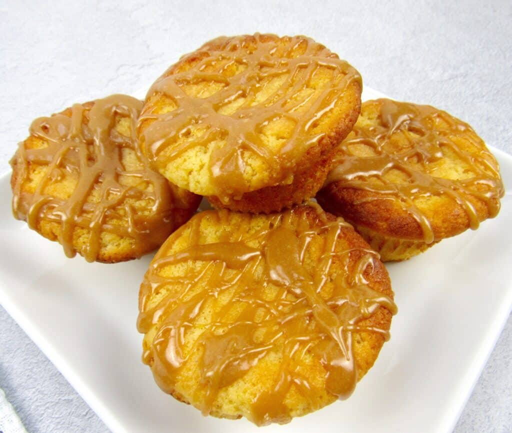 closeup of salted caramel muffins on white plate