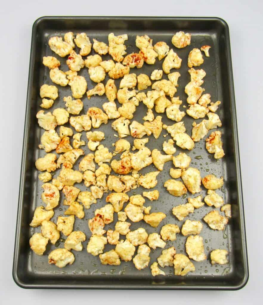roasted cauliflower on sheet pan