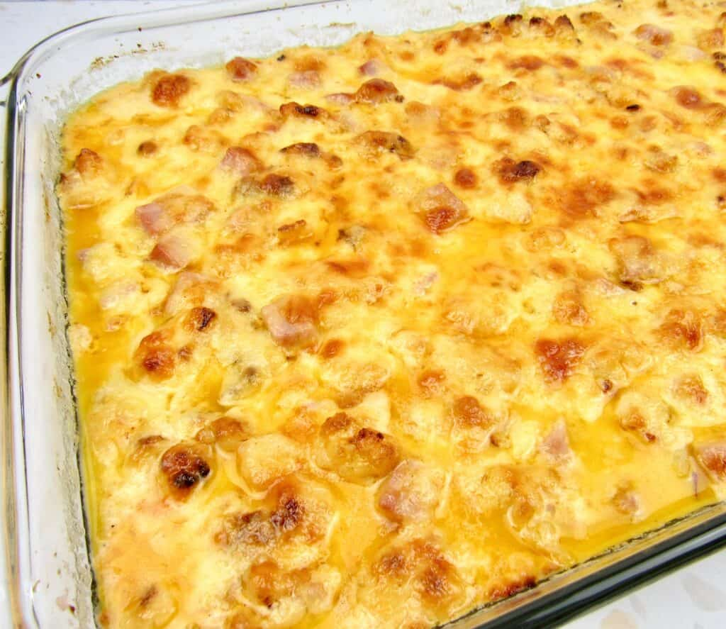 closeup of Roasted Cauliflower and Ham Casserole