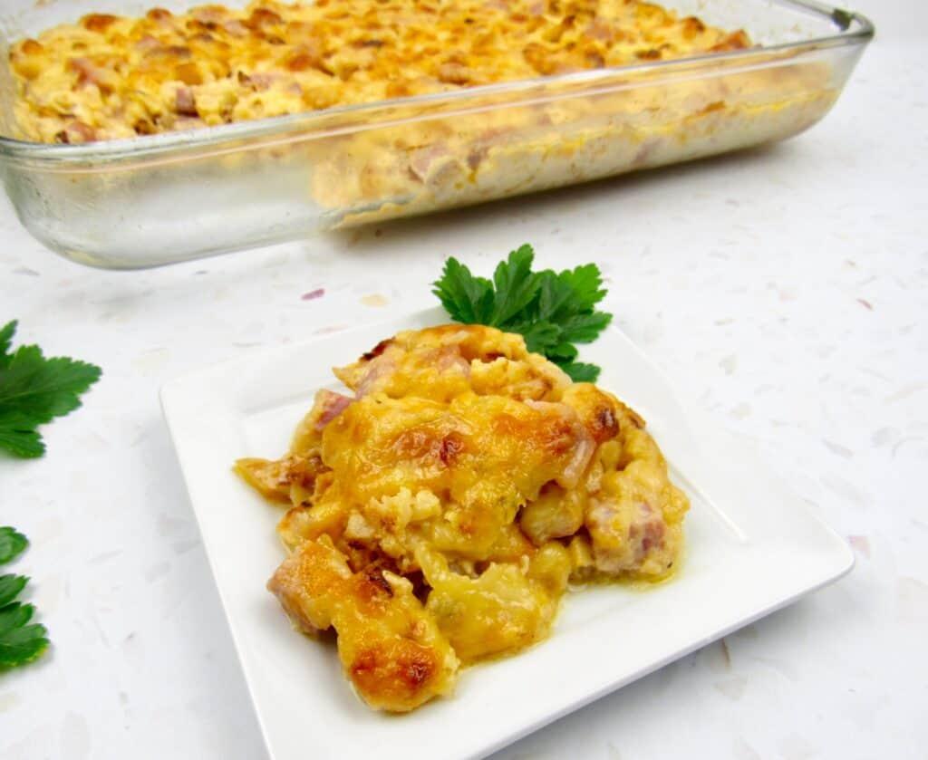 slice of Roasted Cauliflower and Ham Casserole on plate