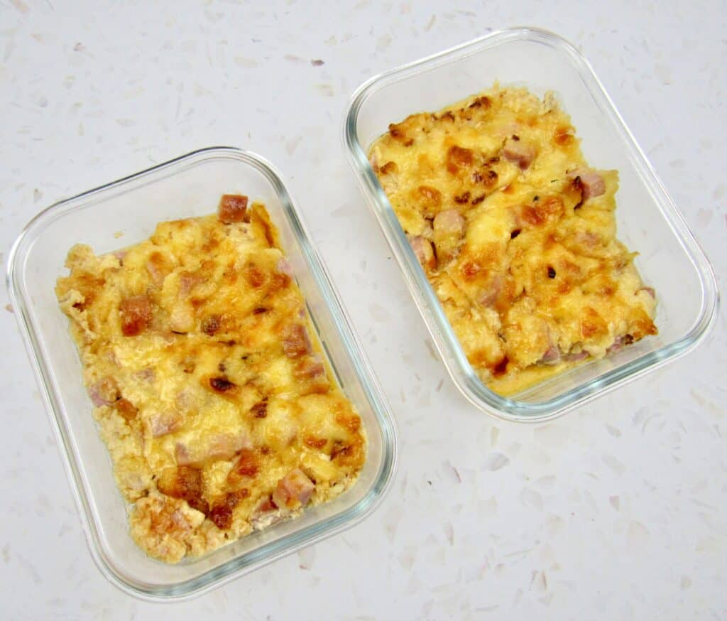 Roasted Cauliflower and Ham Casserole in 2 glass containers