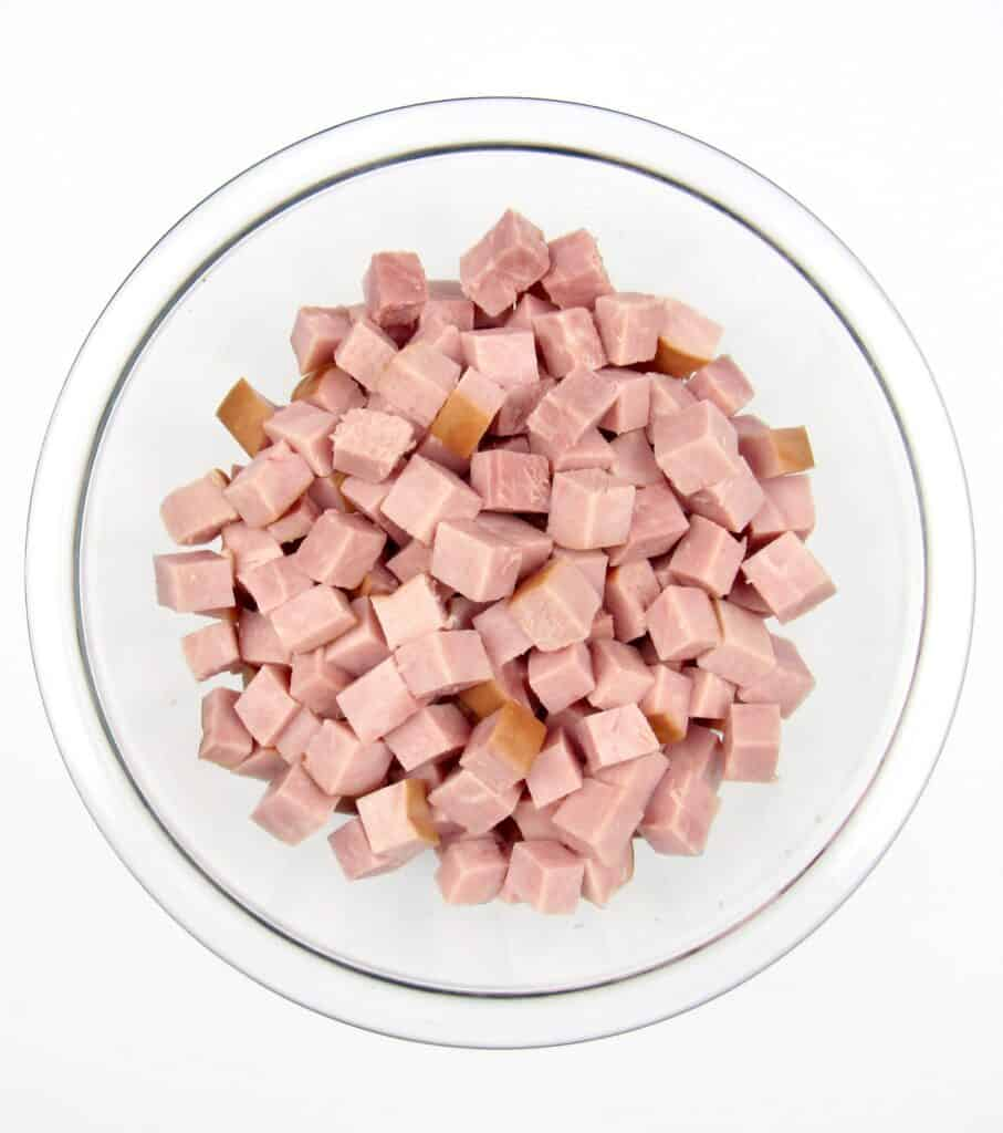 glass bowl of diced ham