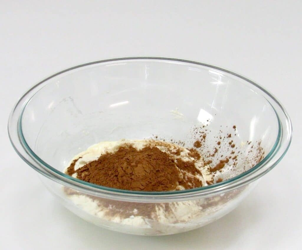 chocolate mousse ingredients in glass bowl