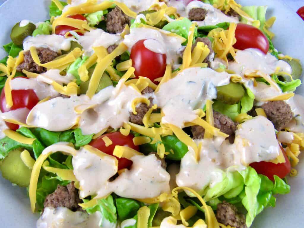 closeup of cheeseburger salad